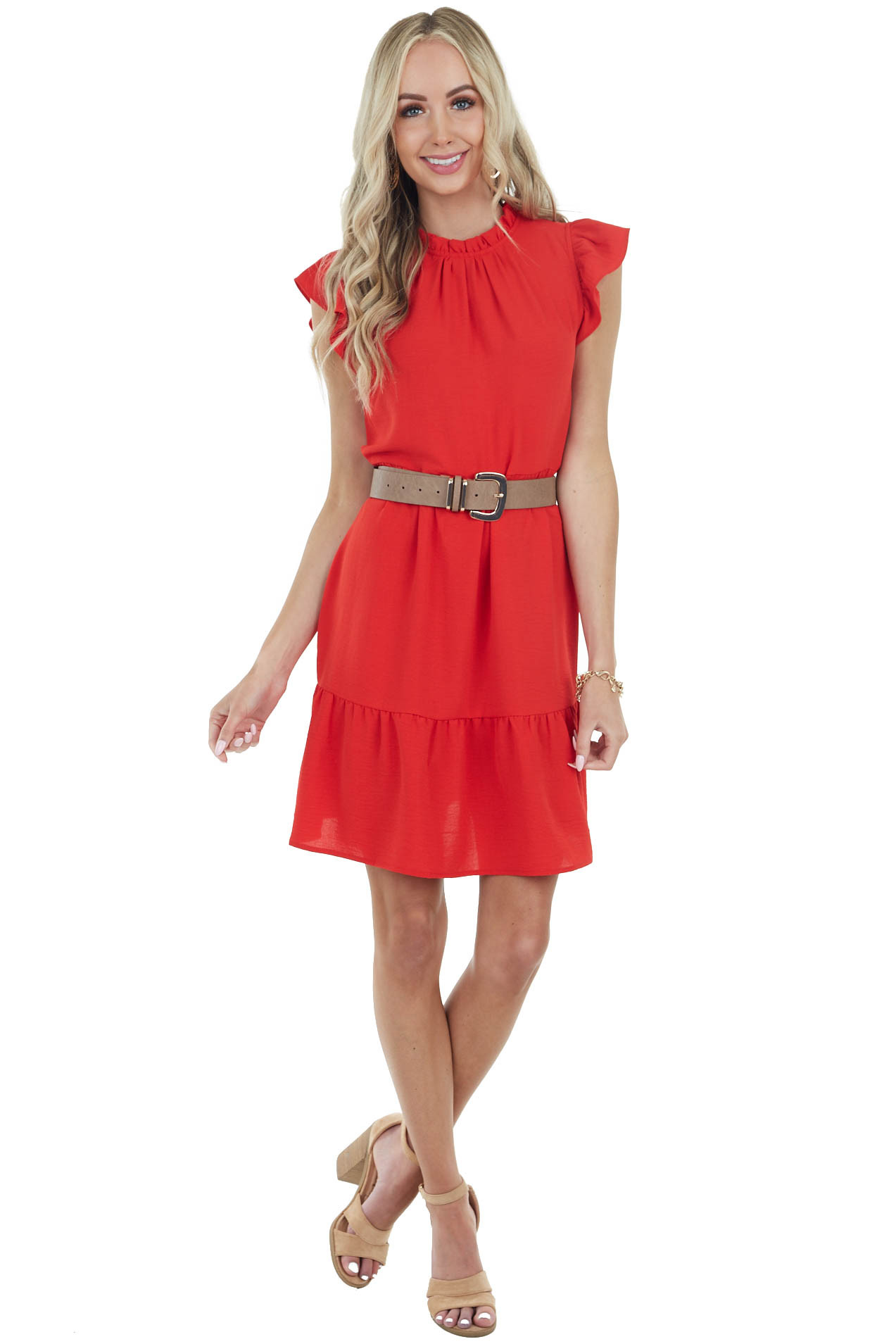 Ruby Red Mock Neck Mini Tiered Dress with Ruffle Details