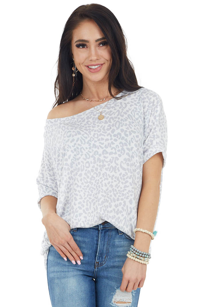 Ivory and Dove Grey Leopard Print Short Sleeve Knit Top