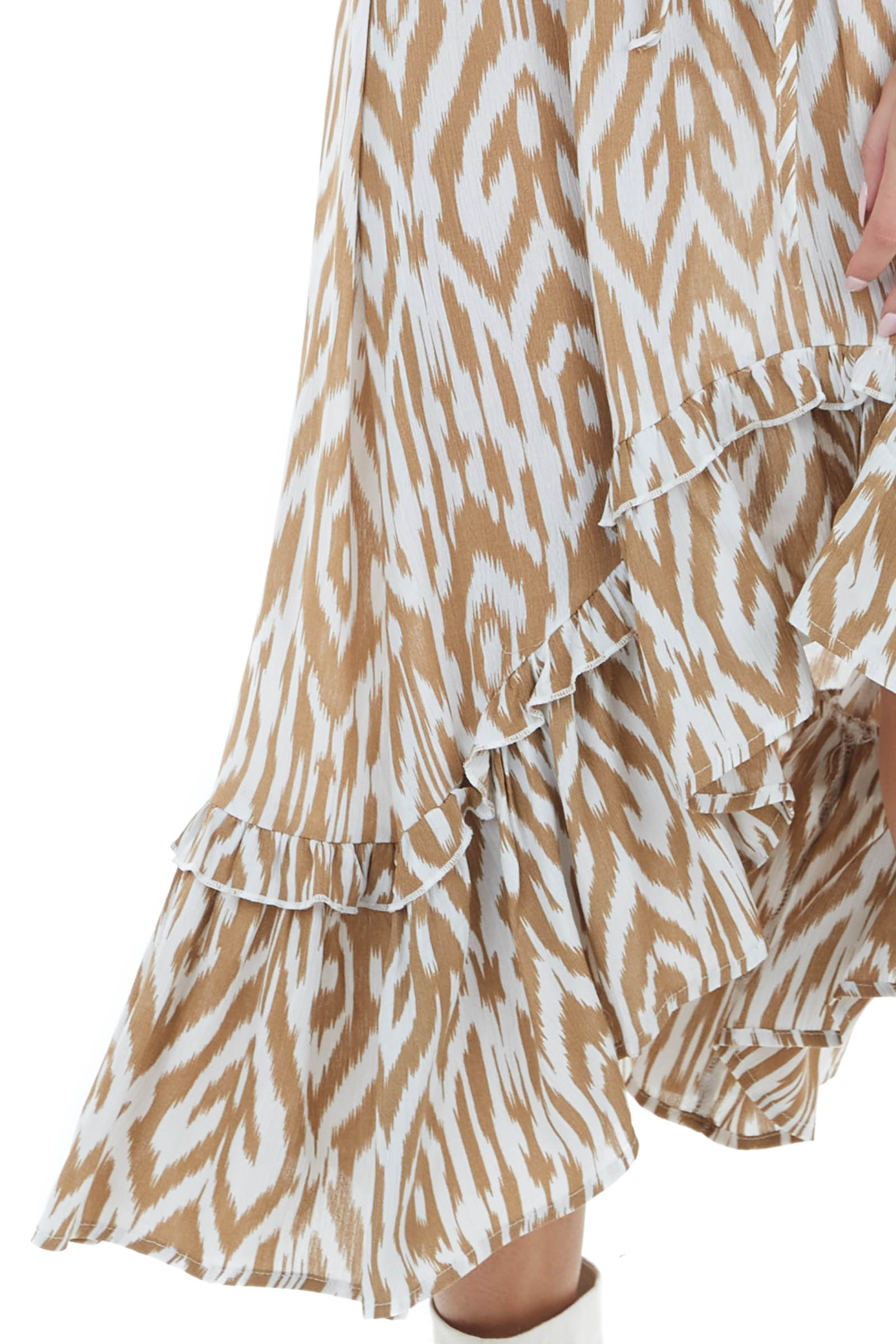 Camel and White Patterned Dress with Waist Tie Detail