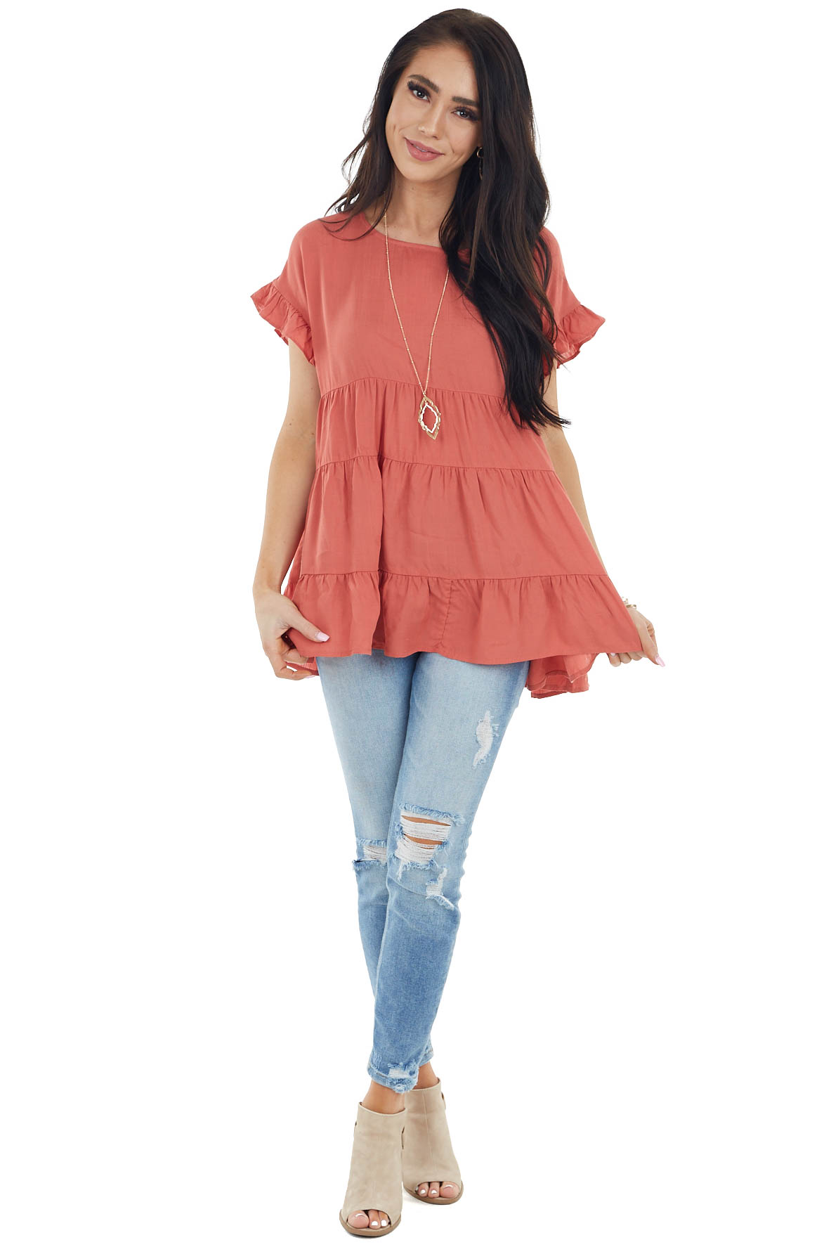 Terracotta Babydoll Woven Top with Short Ruffled Sleeves