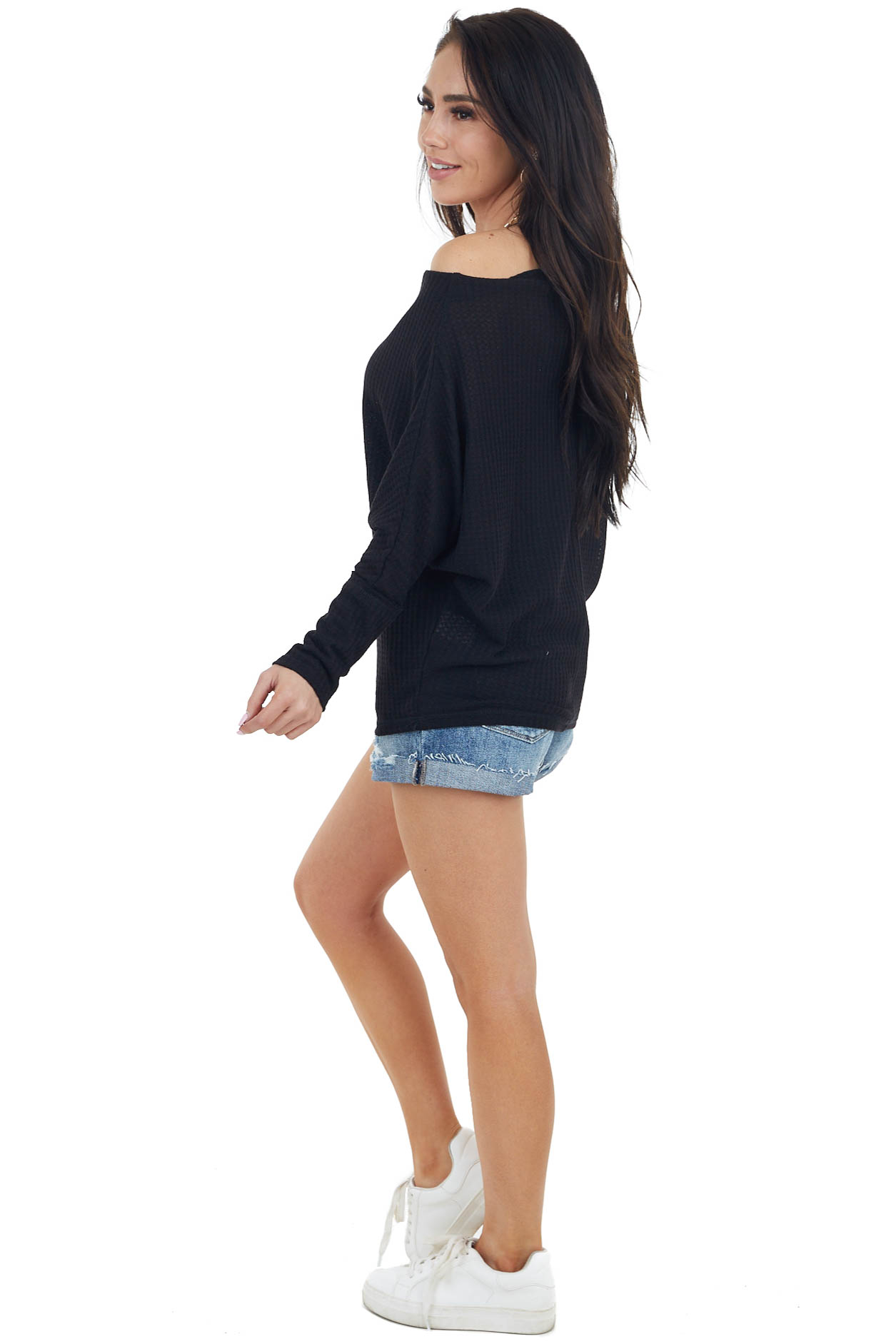 Black Waffle Knit Off Shoulder Long Sleeve Knit Top