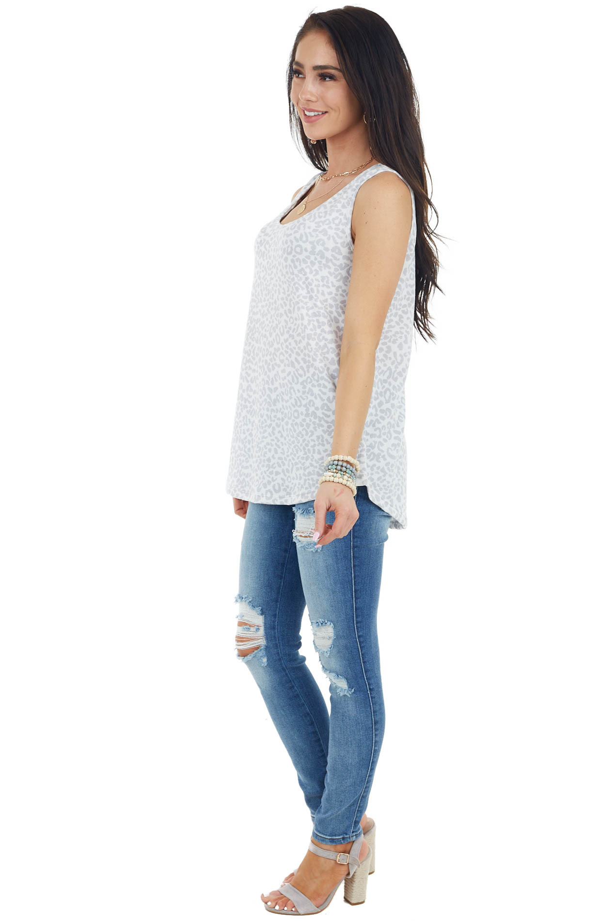 Ivory and Dove Grey Leopard Print Sleeveless Knit Top