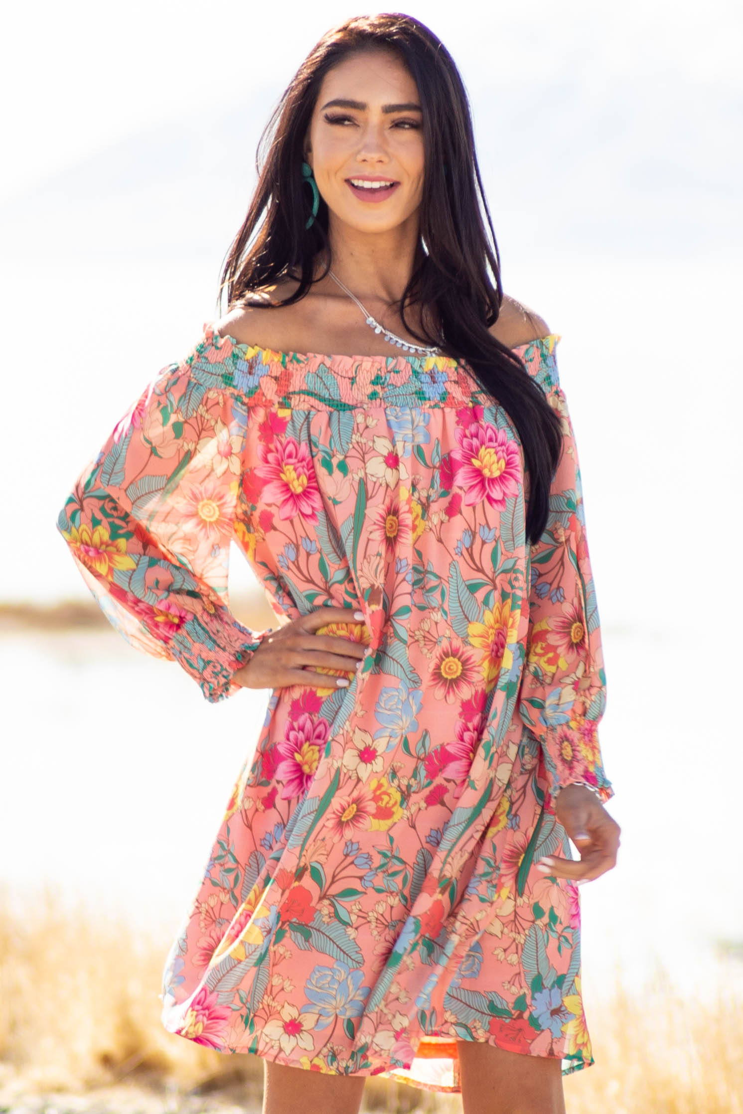 Coral Floral Print Smocked Off the shoulder Short Dress