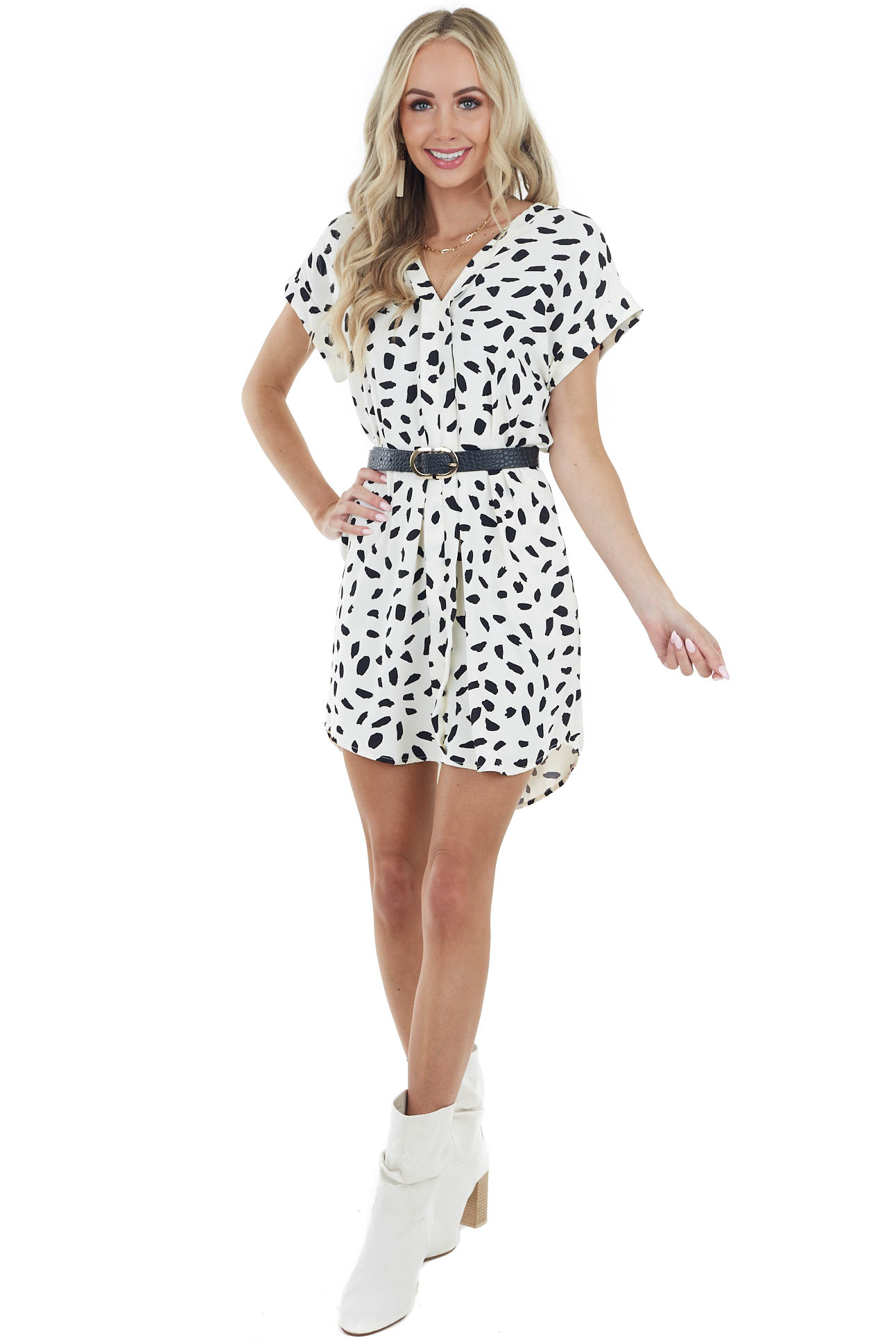 Ivory Abstract Print Short Woven Dress with Short Sleeves
