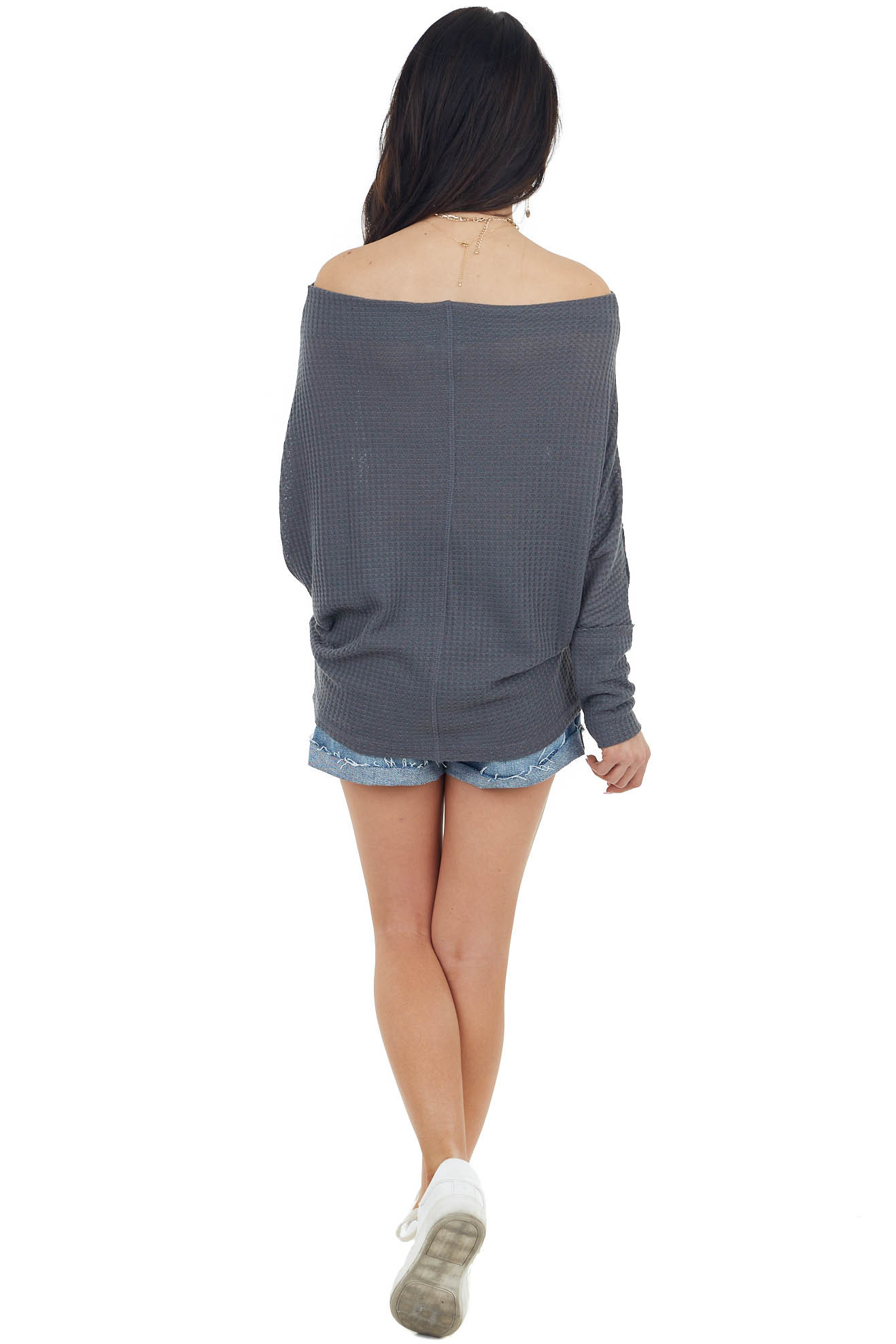 Charcoal Waffle Knit Off Shoulder Long Sleeve Knit Top