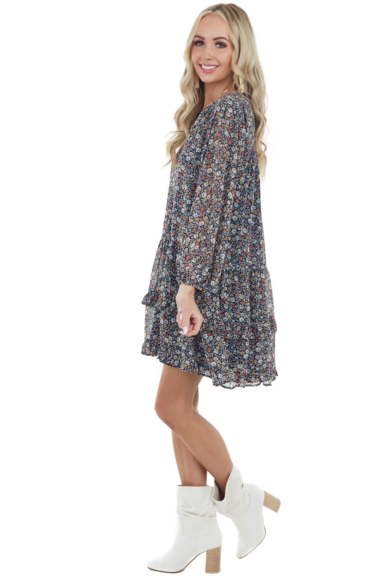 Navy Blue Floral Print Button Down Tiered Woven Dress