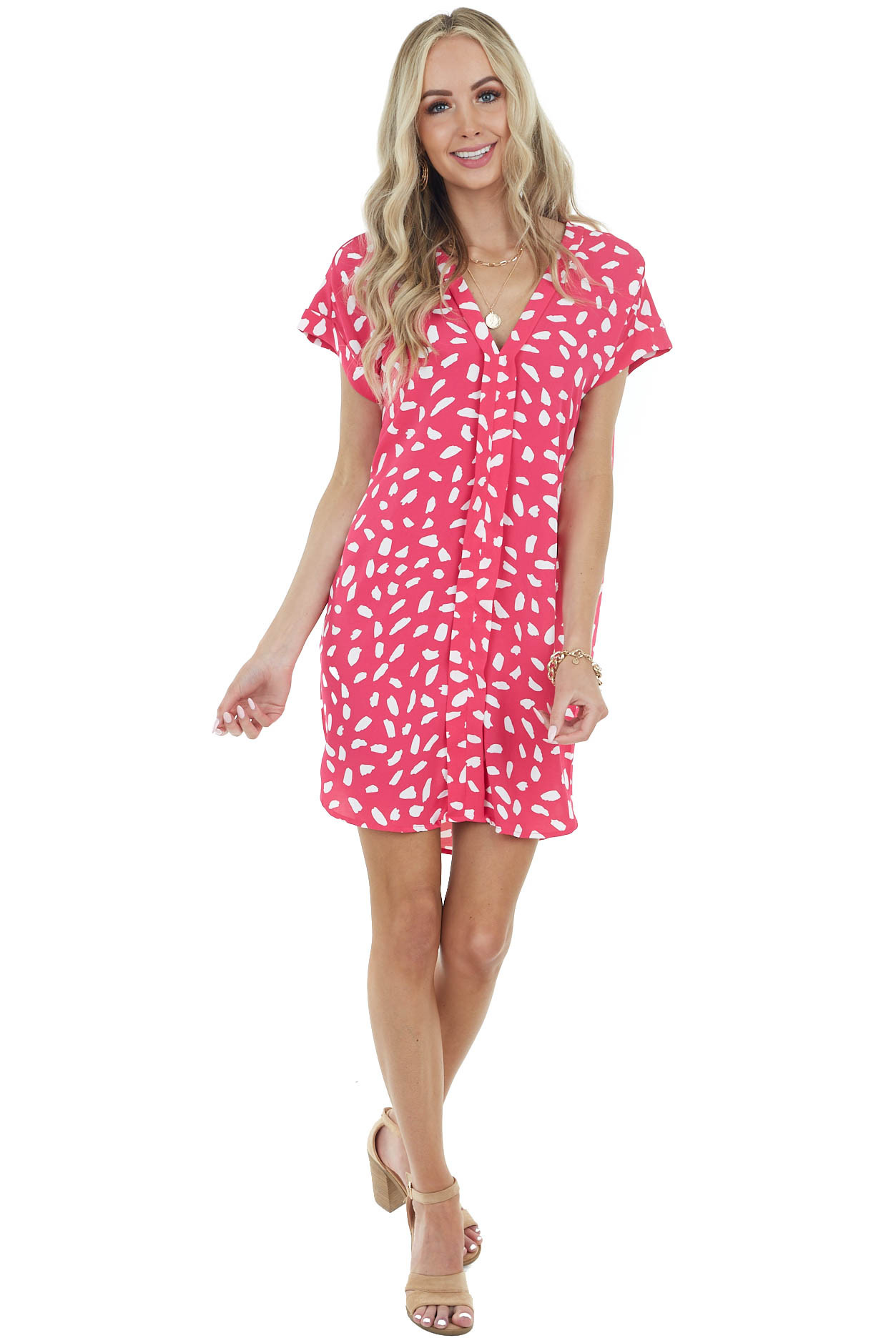 Hot Pink Abstract Print Short Woven Dress with Short Sleeves