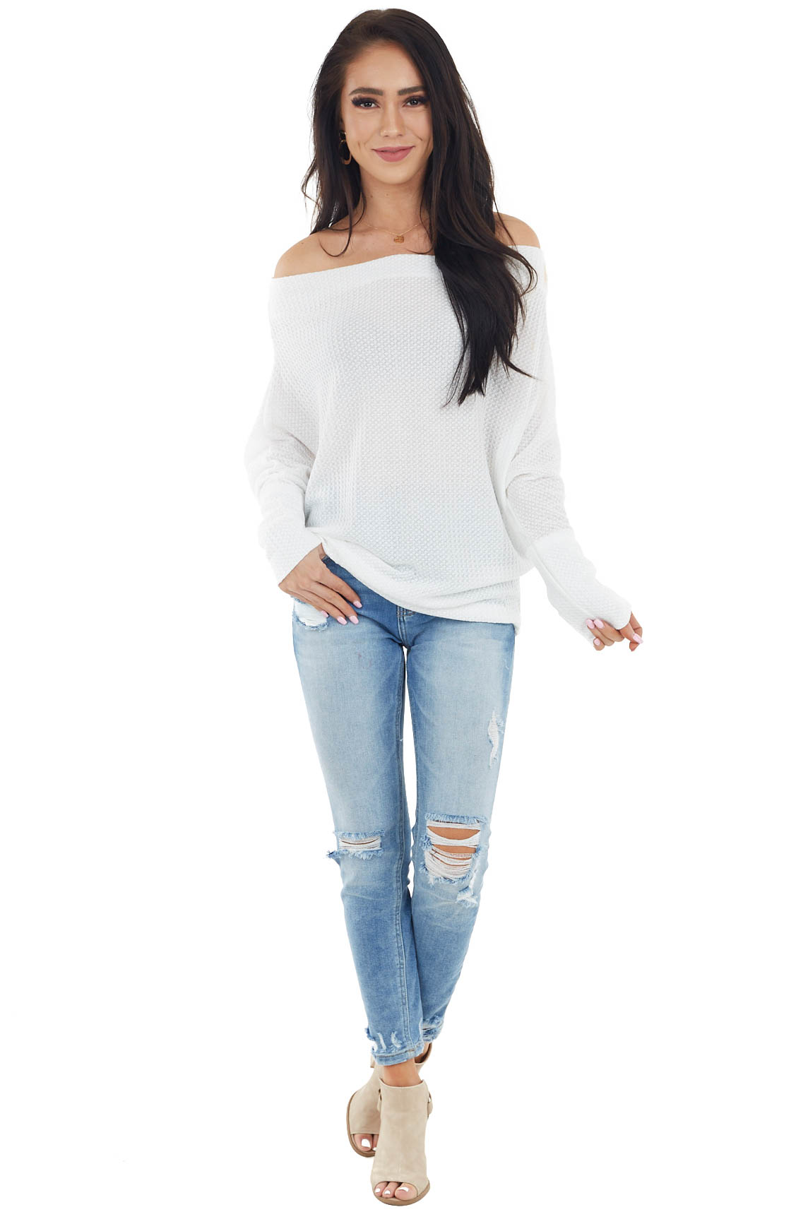 Ivory Waffle Knit Off Shoulder Long Sleeve Knit Top