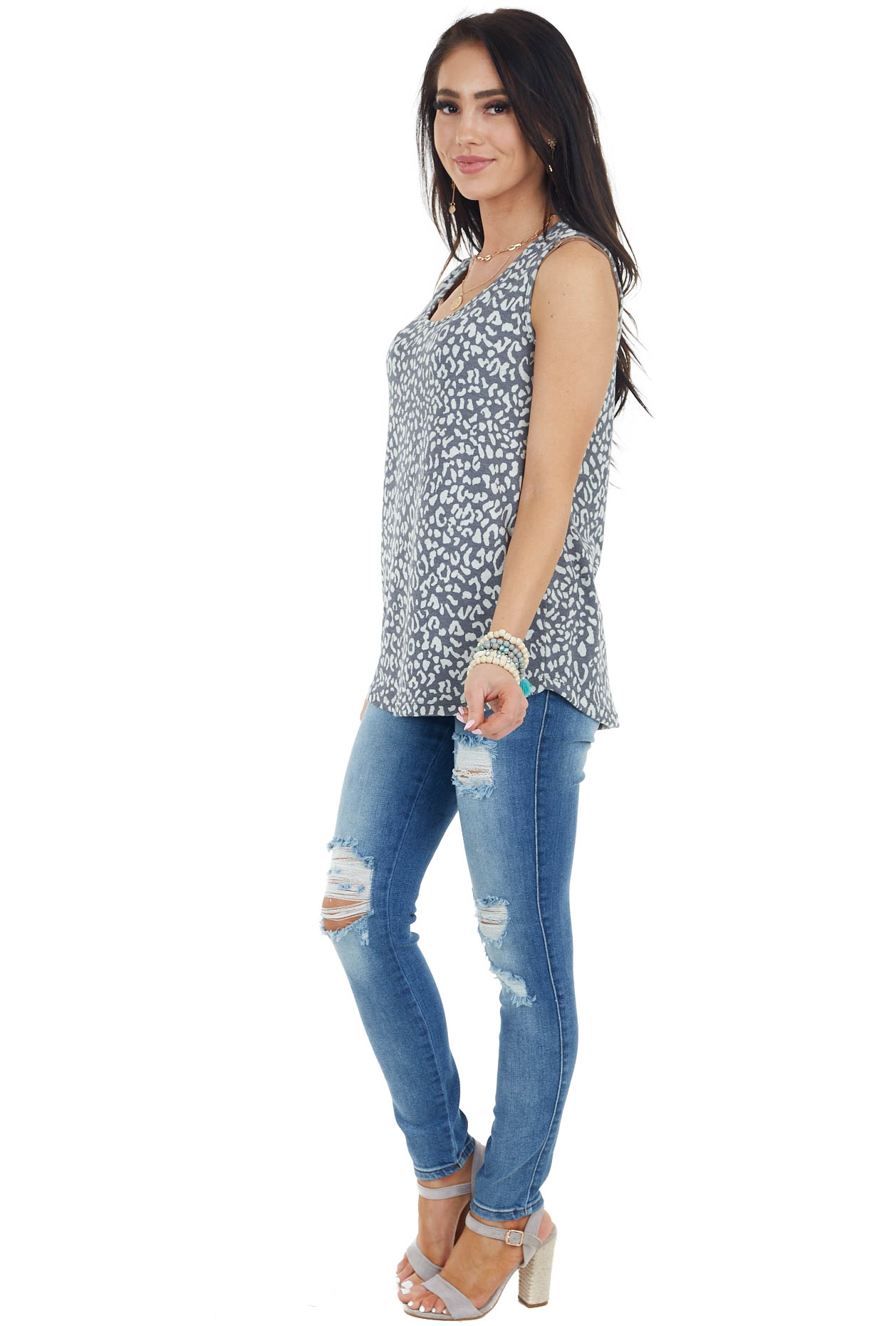 Charcoal and Cream Leopard Print Sleeveless Knit Top
