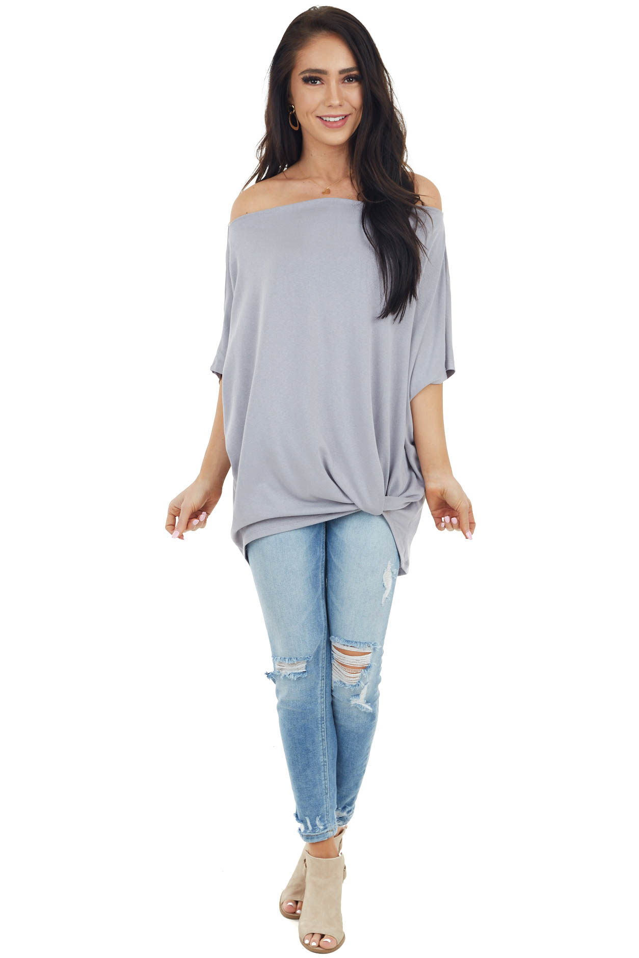 Slate Short Sleeve Off the Shoulder Top with Twisted Front