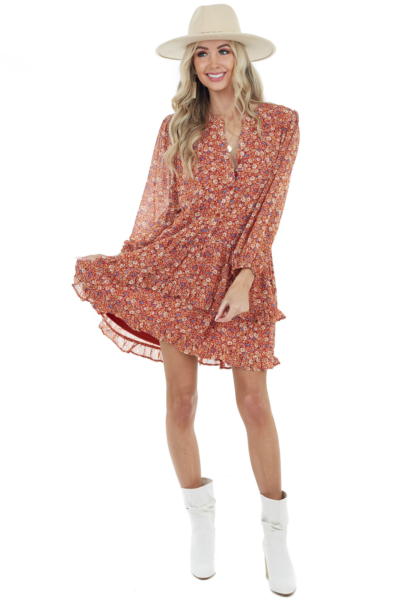 Tawny Floral Print Button Down Tiered Woven Dress