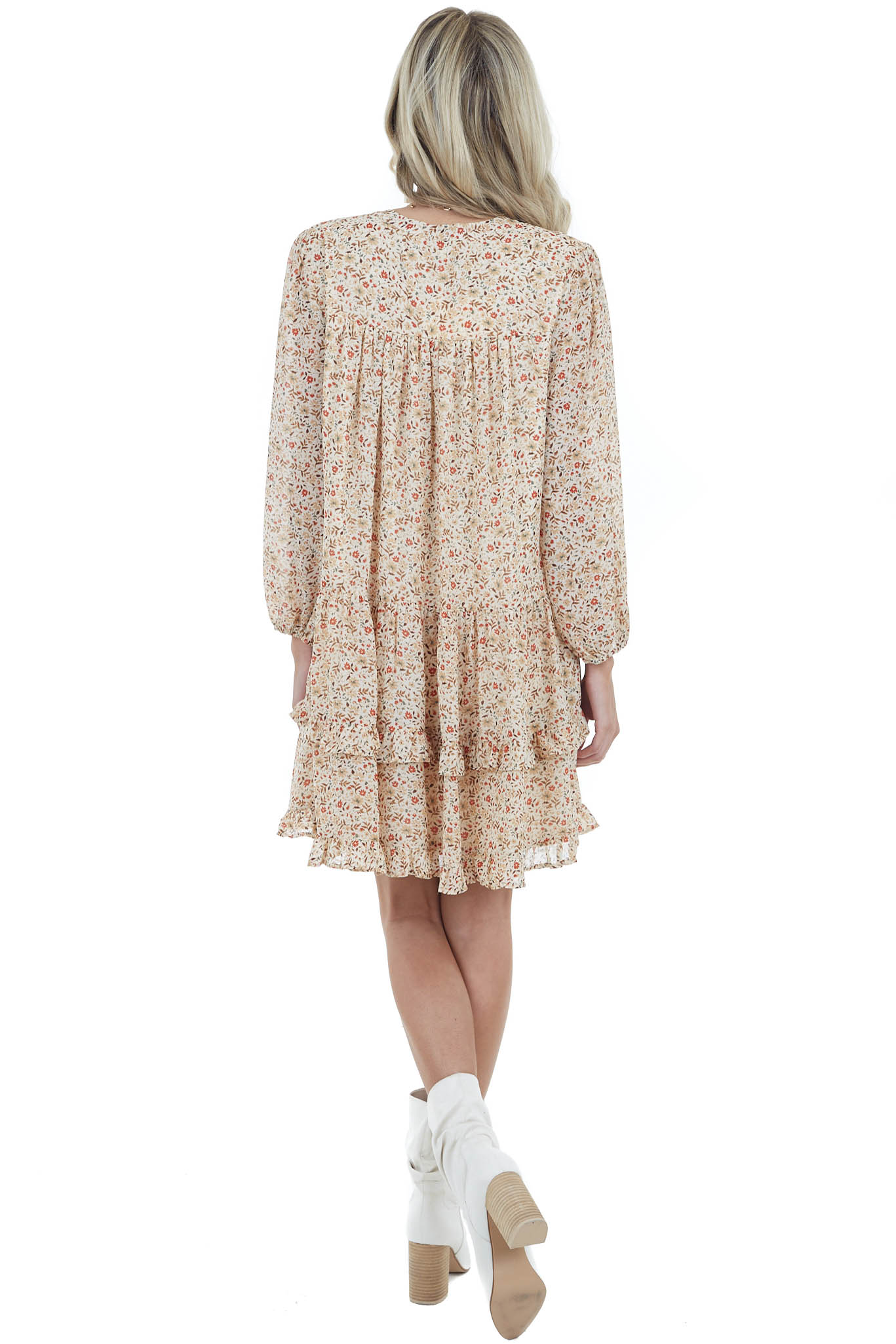 Cream Floral Print Button Down Tiered Woven Dress