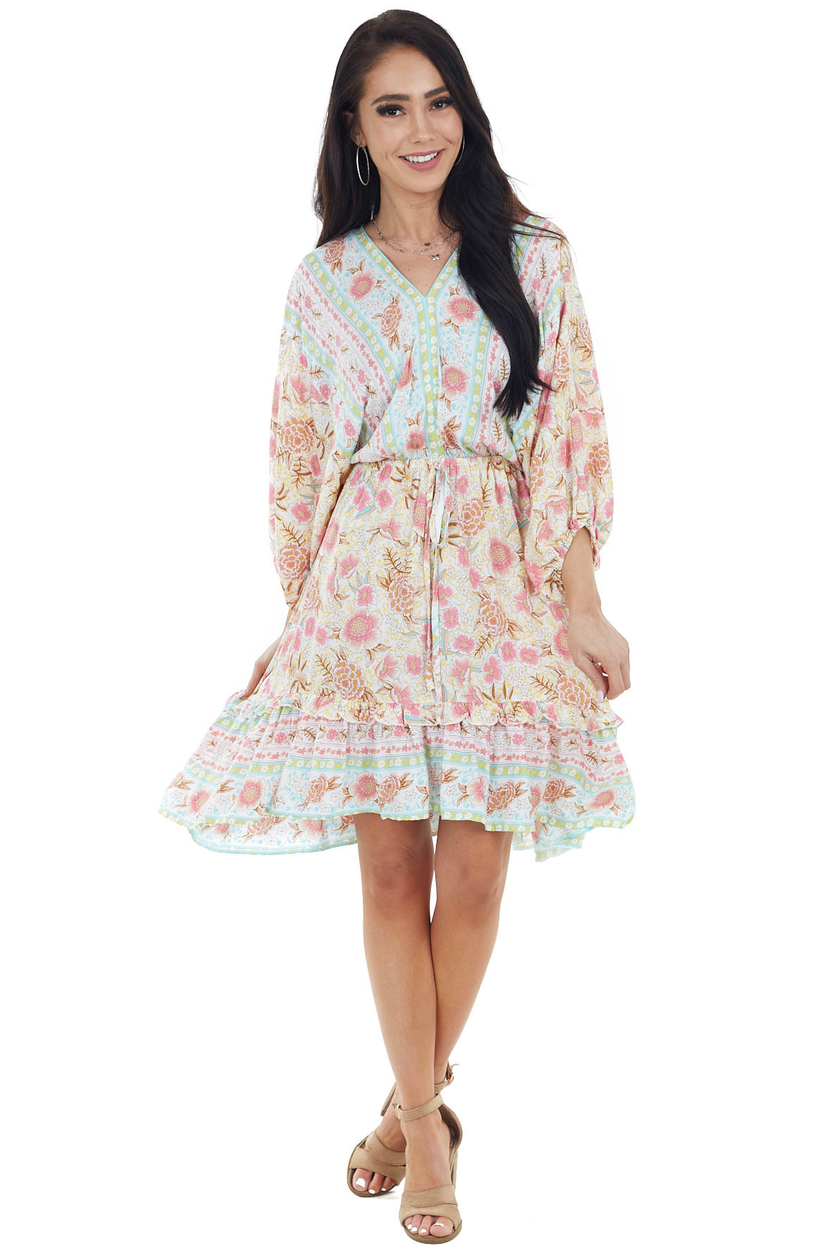 Ivory Floral Print Dress with 3/4 Length Bubble Sleeves