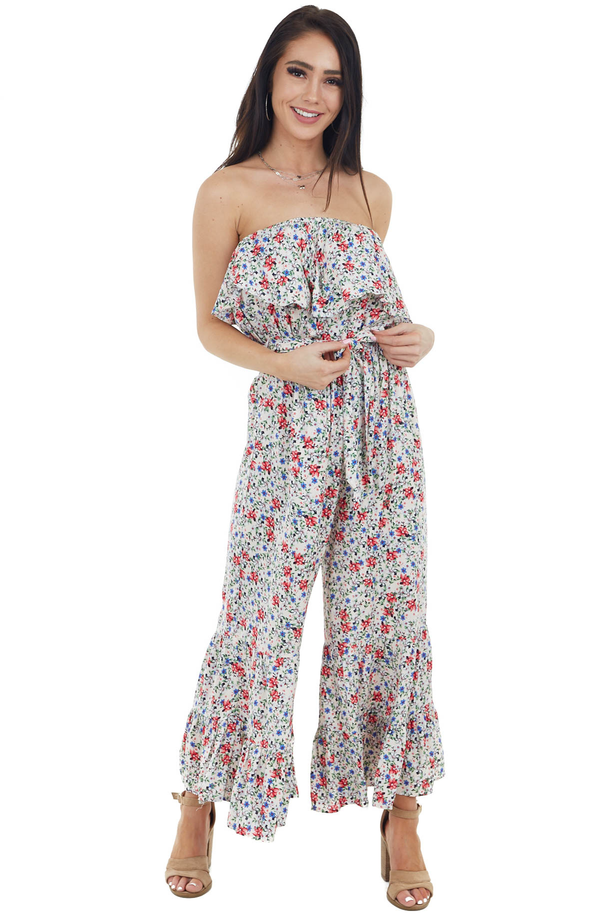 Cream Floral Strapless Wide Leg Jumpsuit with Tie Detail