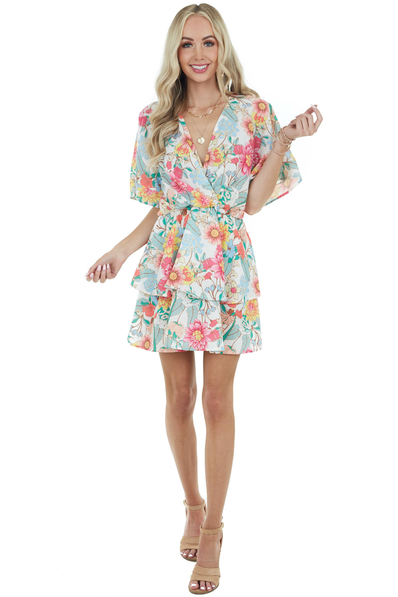 Cream Floral Print Surplice Short Dress with Tiered Ruffles