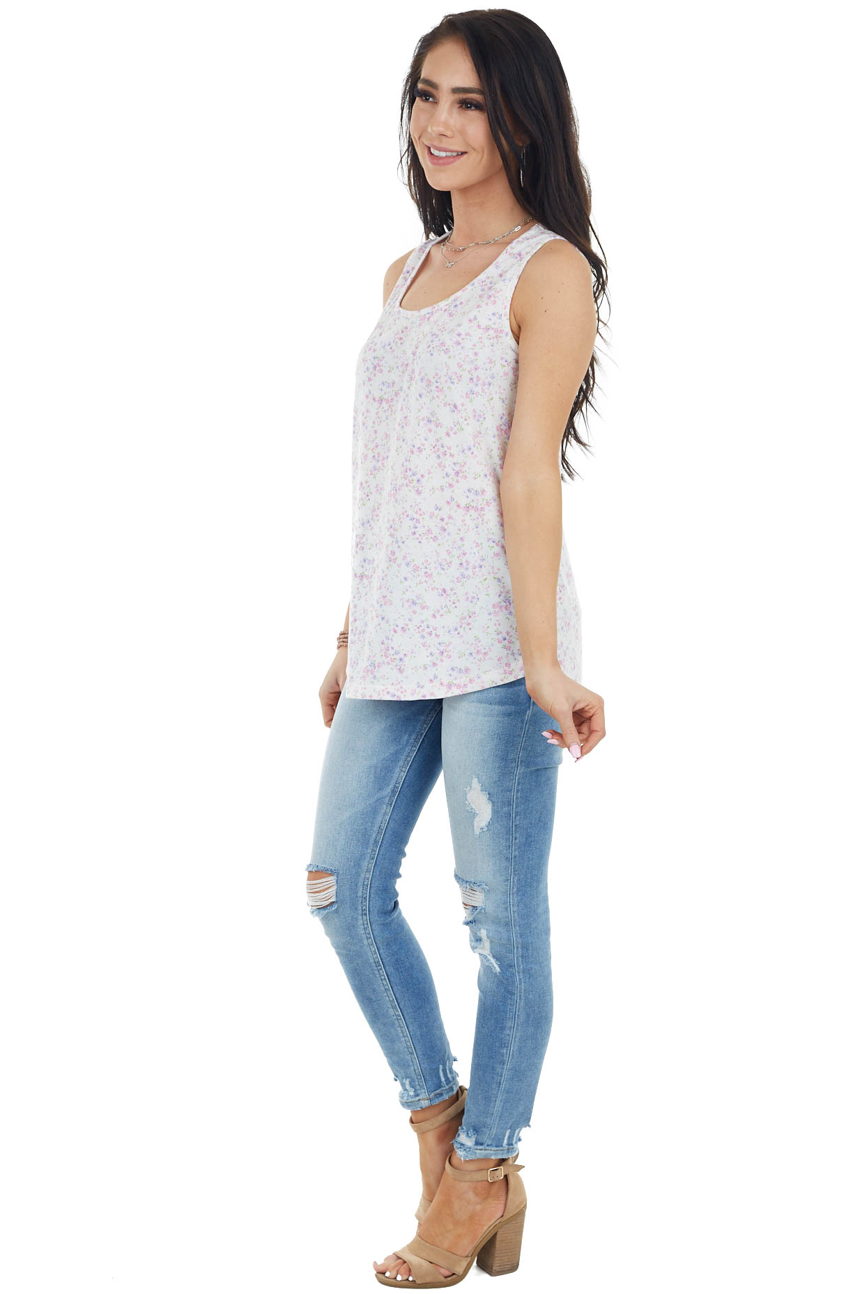 Off White Floral Print Lightweight Sleeveless Knit Top