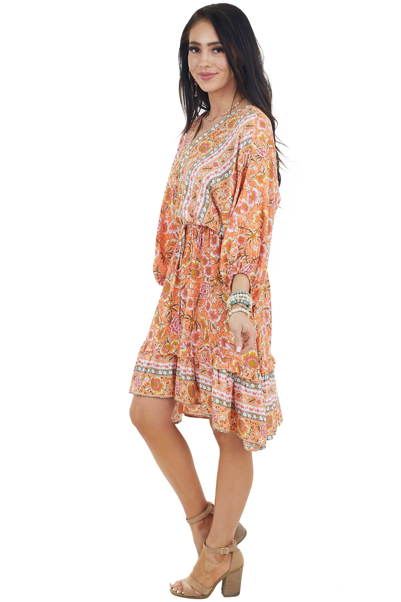 Tangerine Floral Print Dress with 3/4 Length Bubble Sleeves