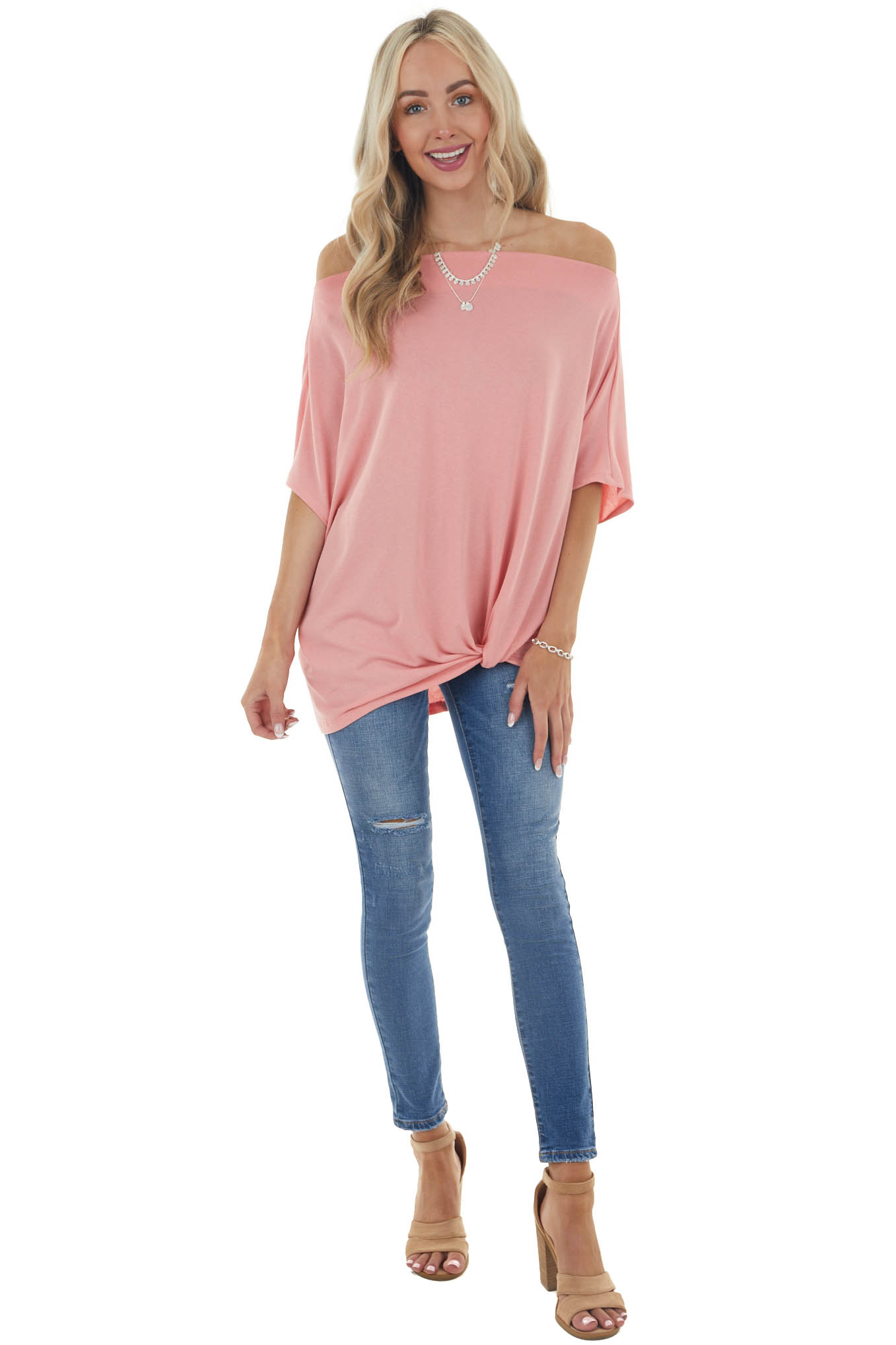 Coral Short Sleeve Off the Shoulder Top with Twisted Front