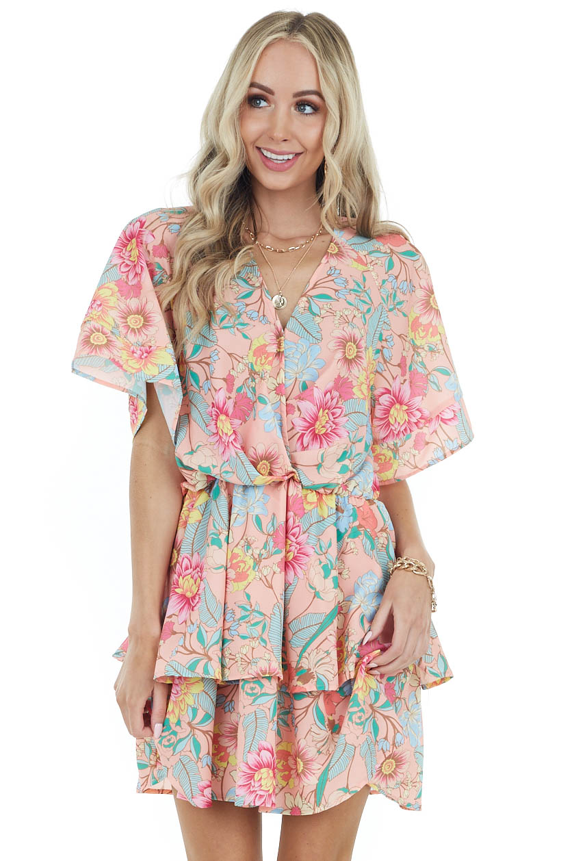 Salmon Floral Print Surplice Short Dress with Tiered Ruffles