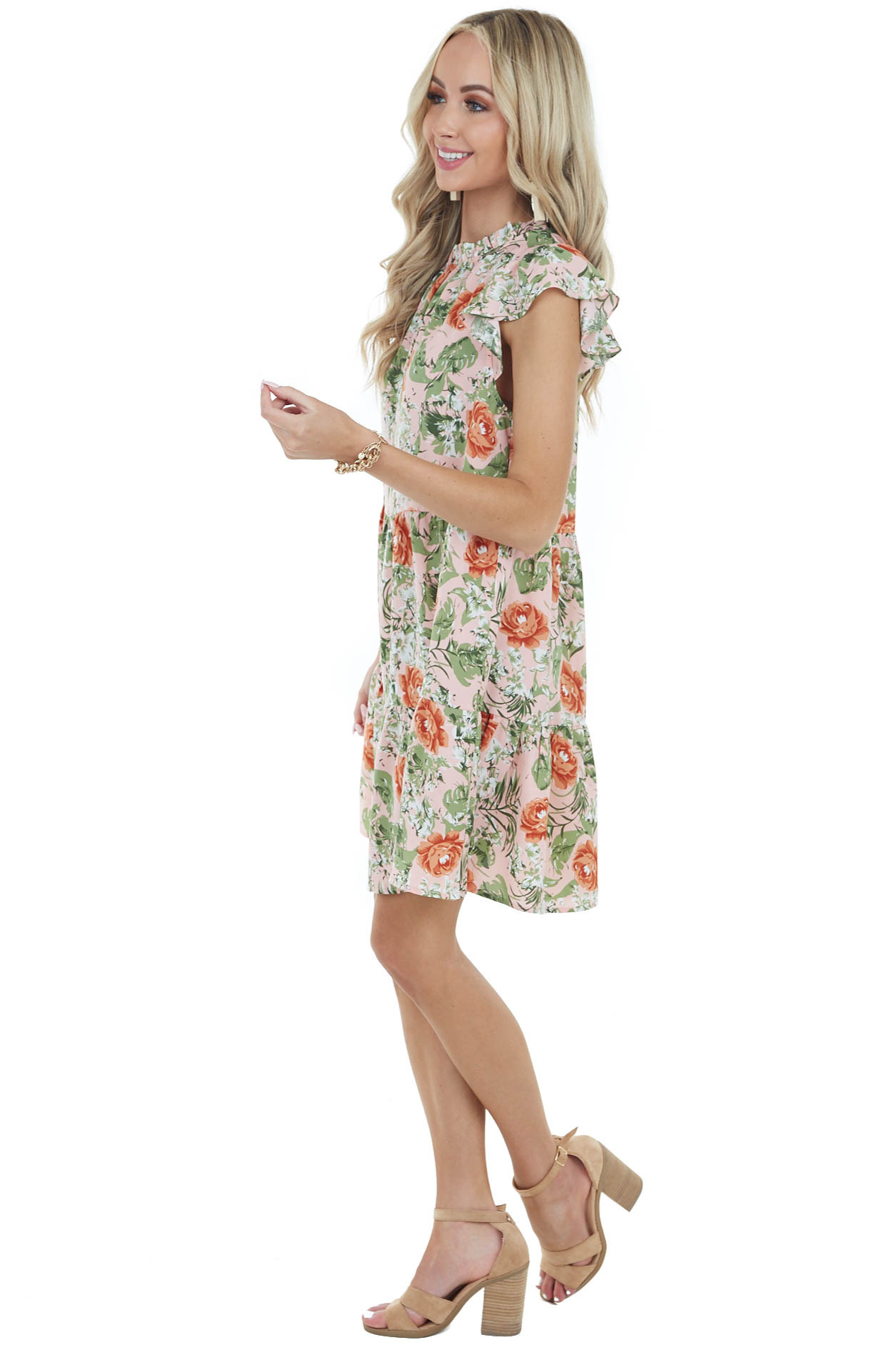 Dusty Blush Floral Print Cap Sleeve Dress with Ruffle Detail