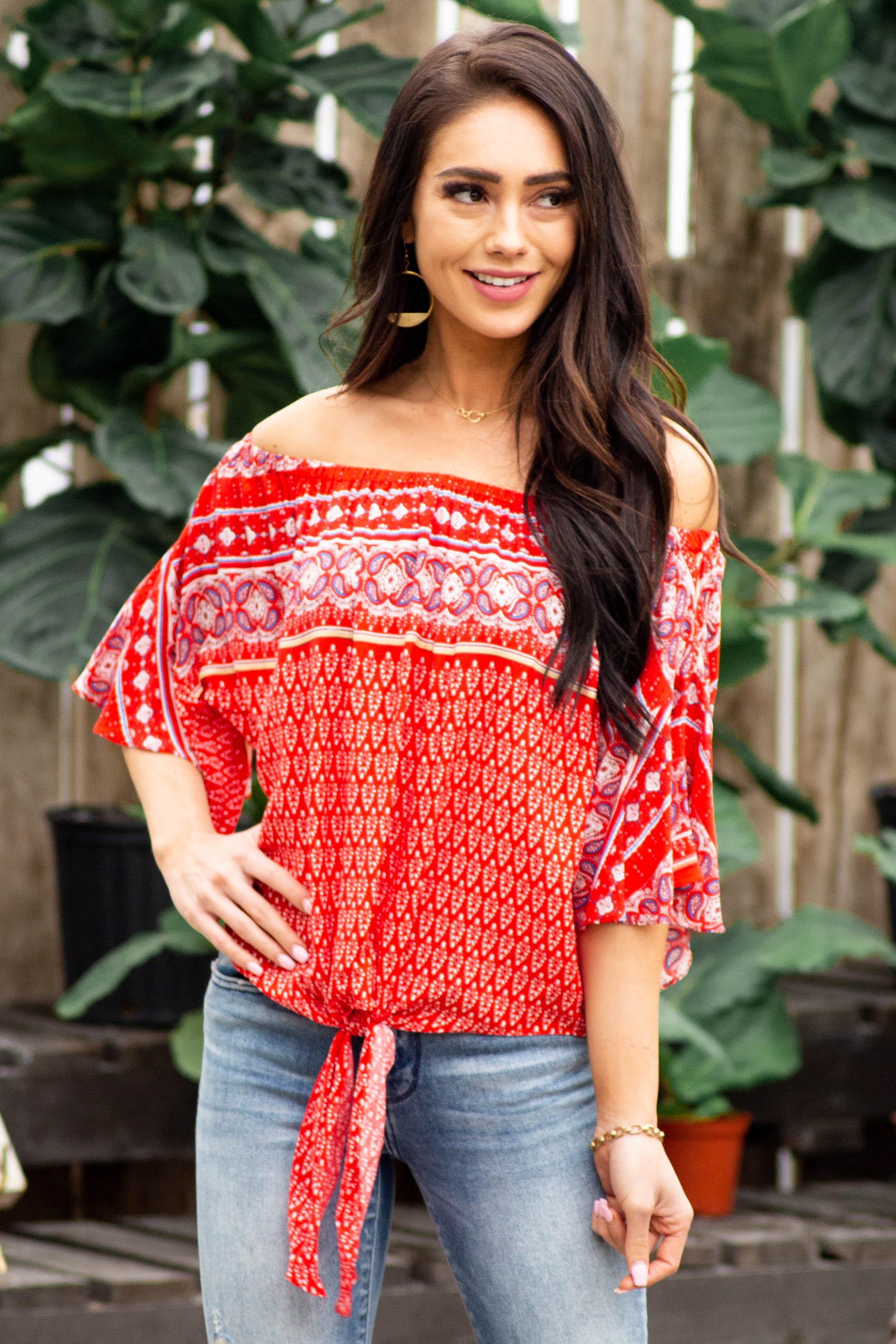Crimson Printed Off the Shoulder Blouse with Tie Detail