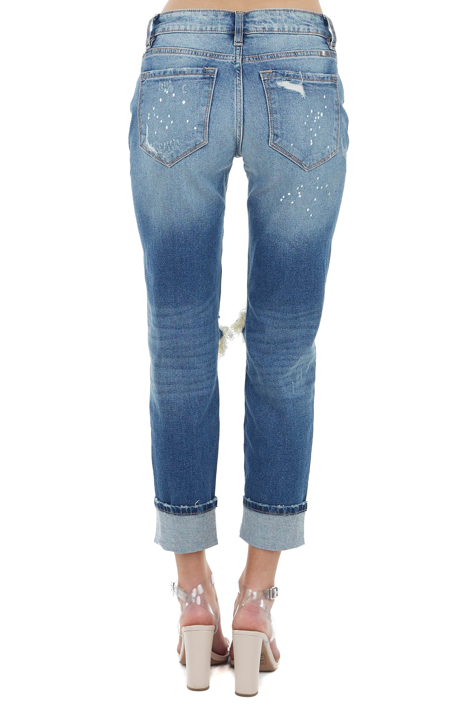 Medium Wash Distressed Jeans with Paint Splatter Details