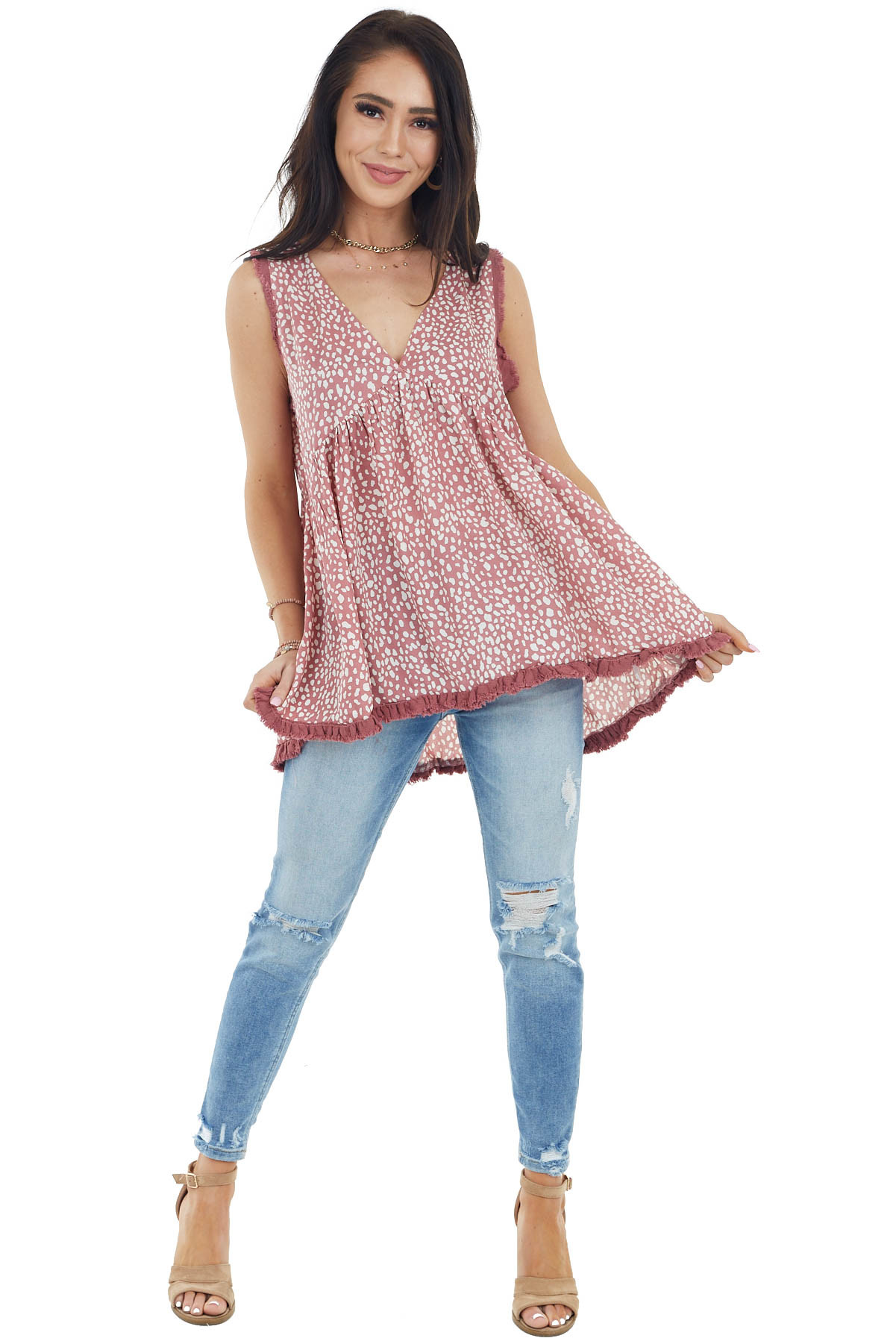 Dusty Rose Printed Sleeveless Top with Frayed Details