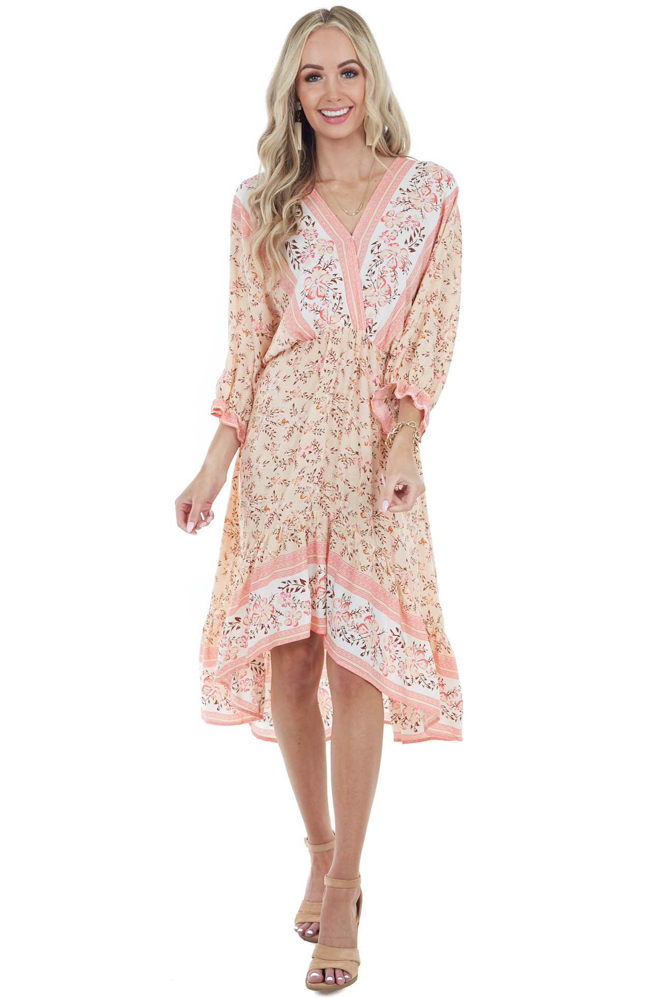 Peach Floral Dolman Sleeve High Low Dress with Tie Detail