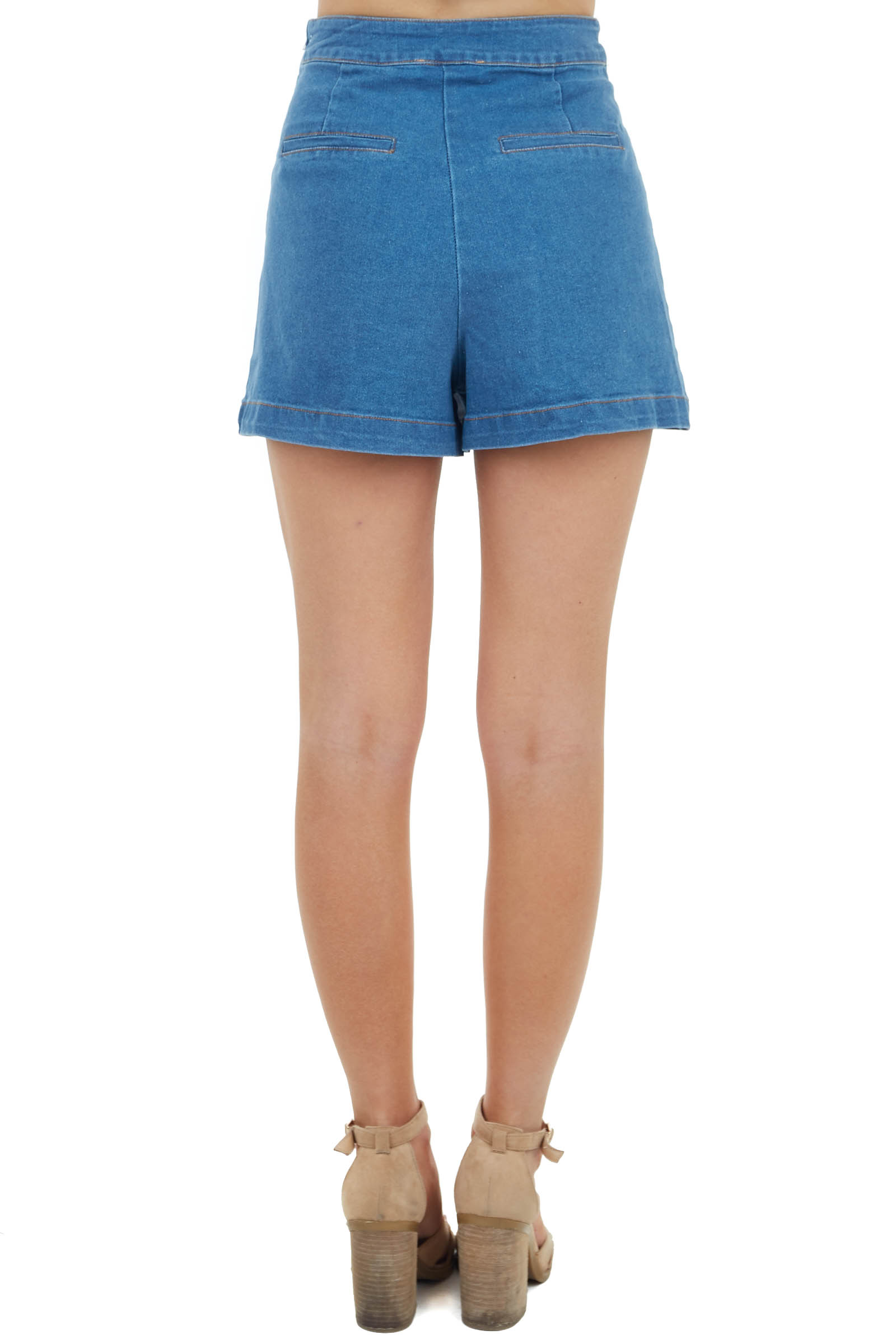 Dark Wash Denim Skort with Zip Up Side and Faux Back Pockets