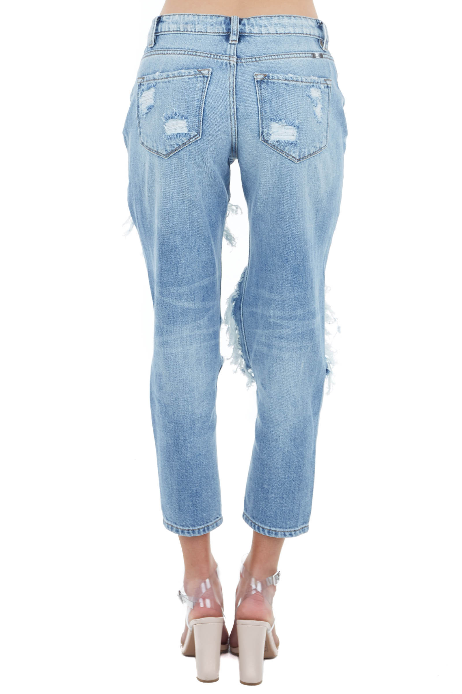 Vintage Medium Wash Distressed Boyfriend Mid Rise Jeans