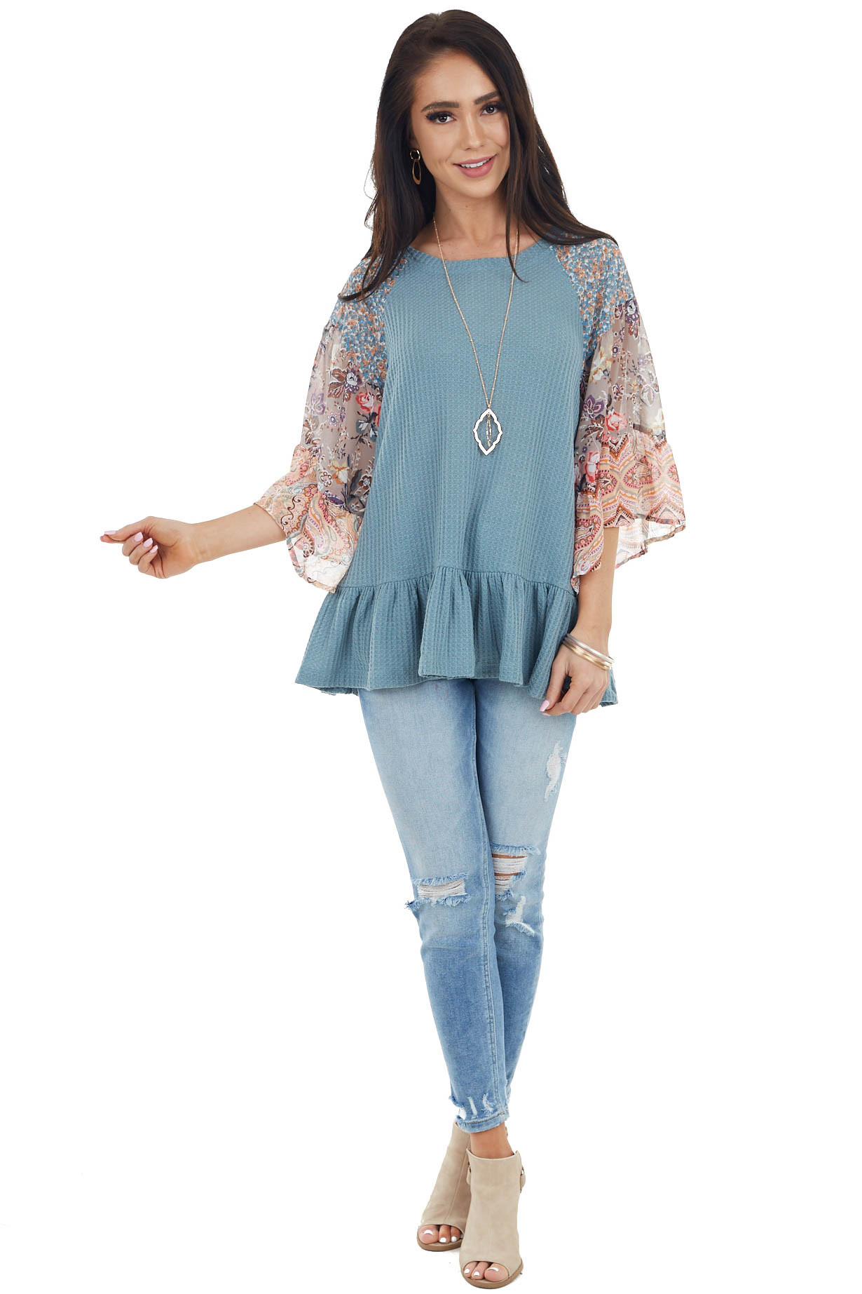 Powder Blue Colorblock Multiprint Top with Ruffle Trim