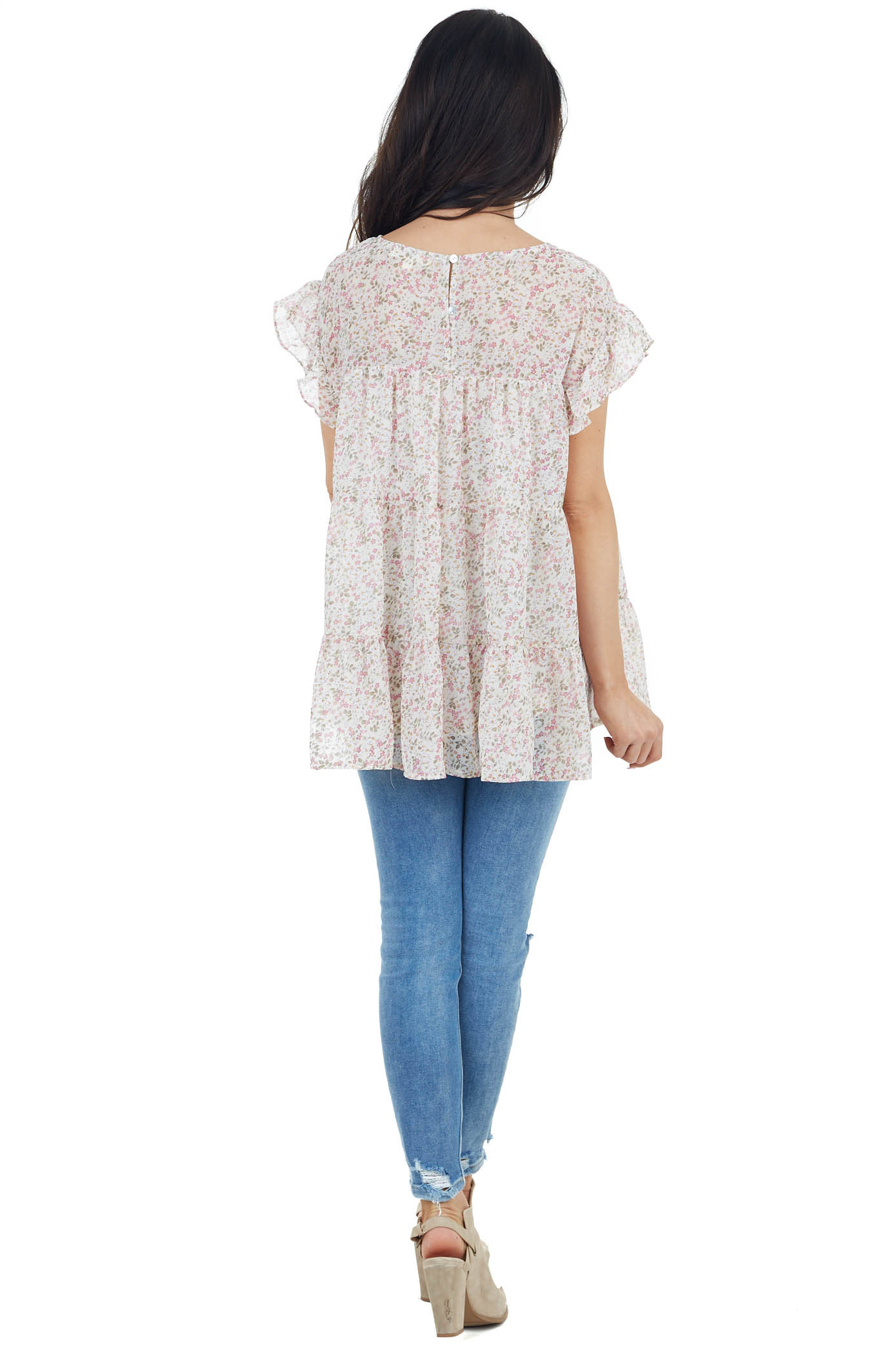 Lilac Floral Print Short Ruffled Sleeve Tiered Woven Top