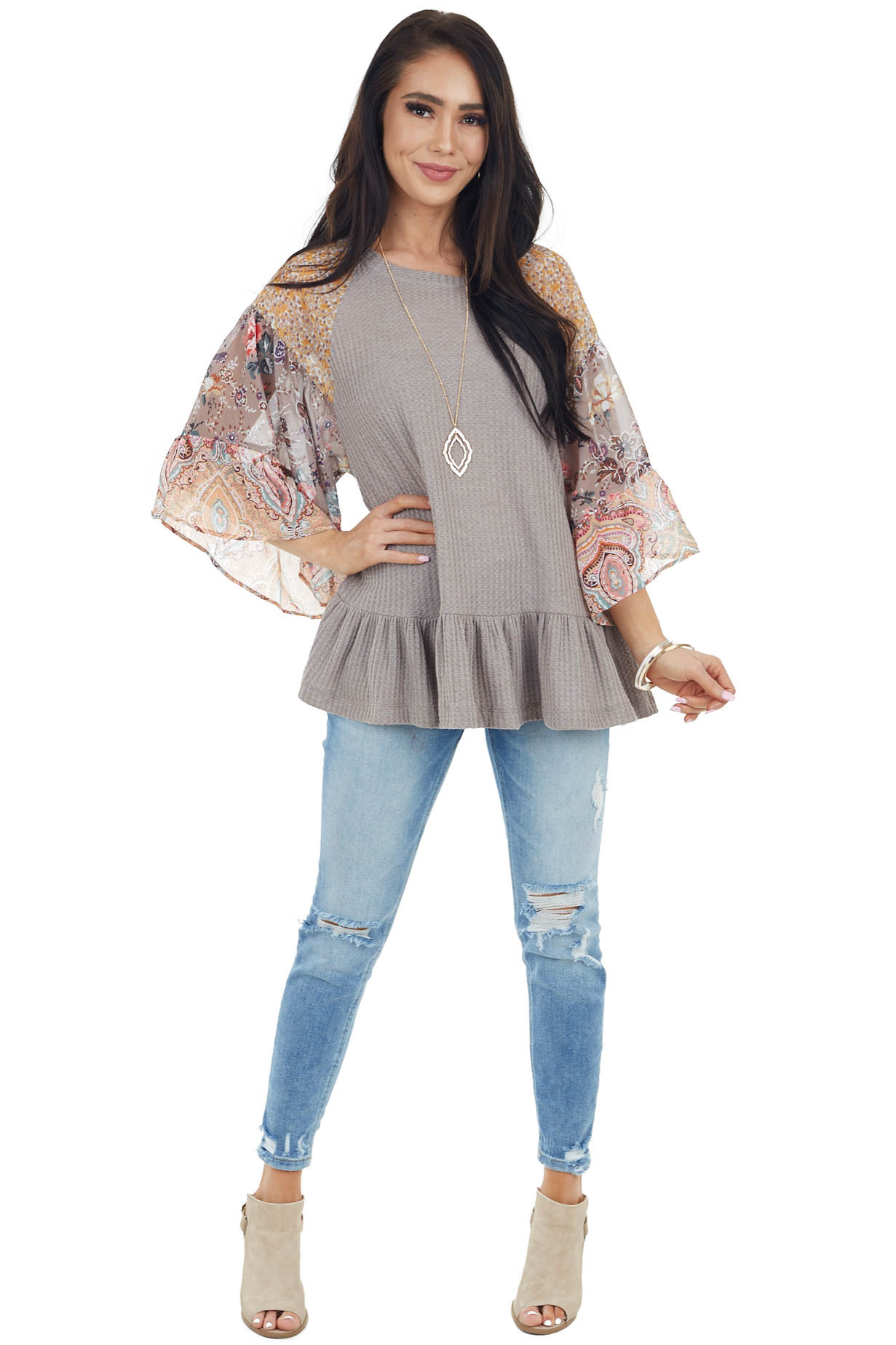 Taupe Colorblock Multiprint Top with Ruffle Trim