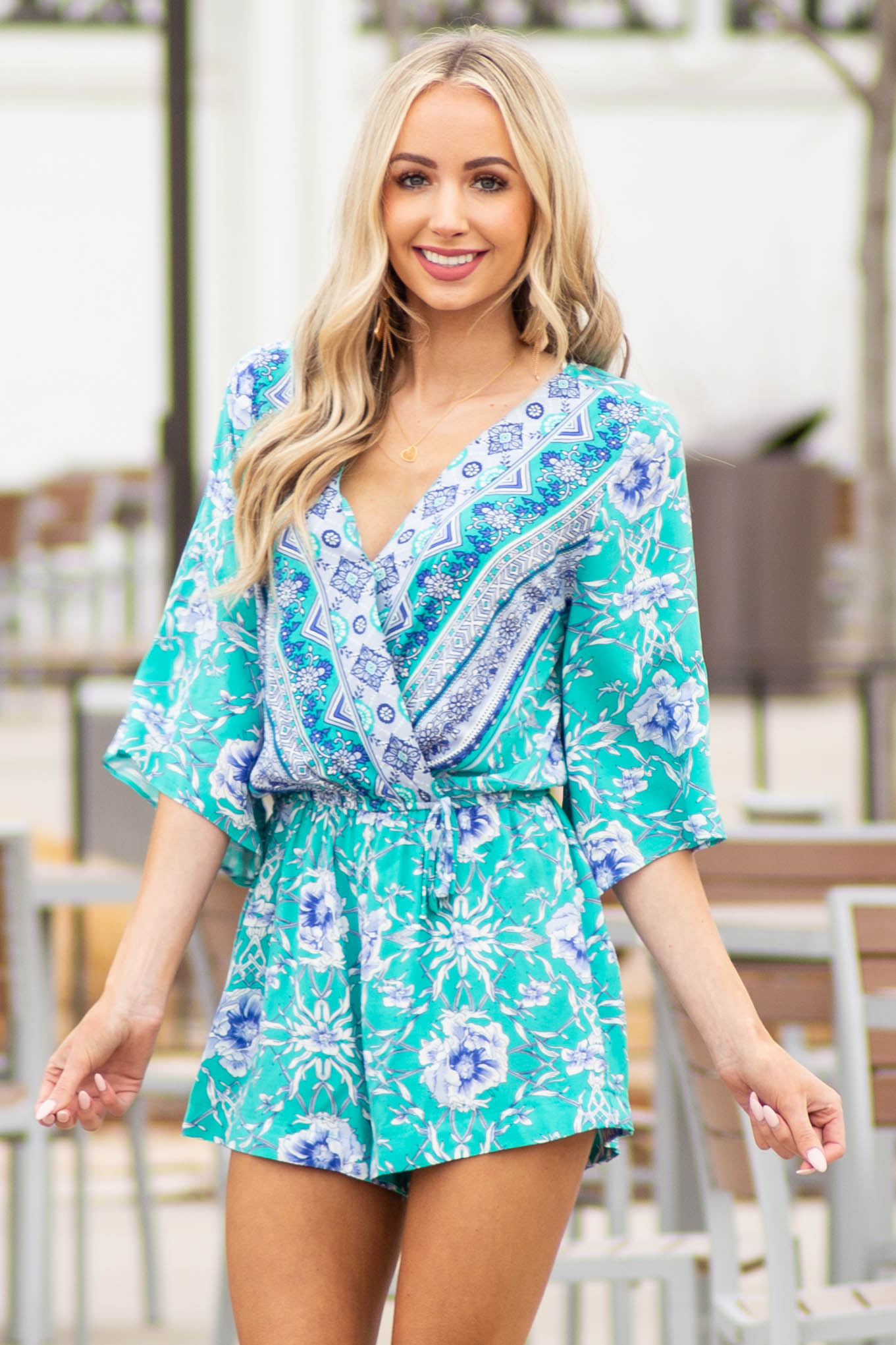 Aqua Abstract Printed Surplice V Neckline Romper