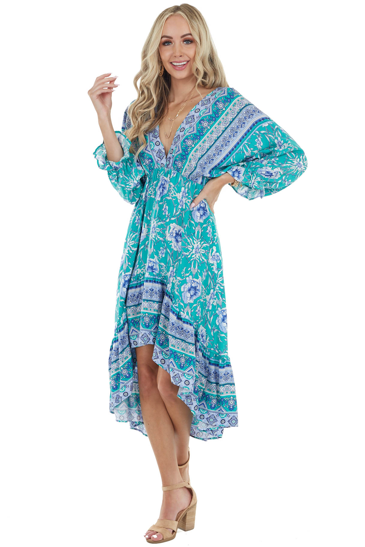 Jungle Green Floral Dolman Sleeve High Low Dress with Tie