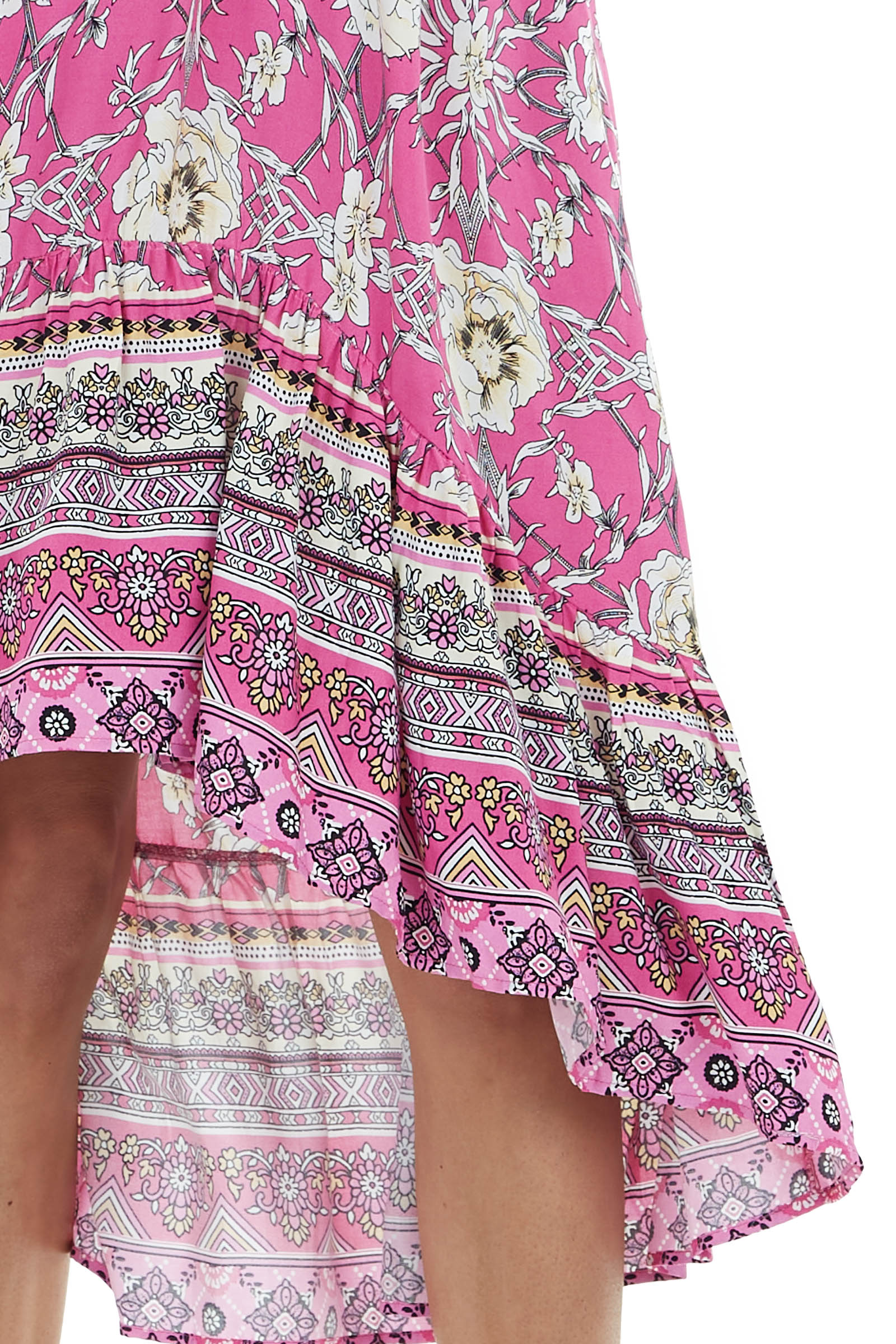 Fuchsia Floral Dolman Sleeve High Low Dress with Tie Detail