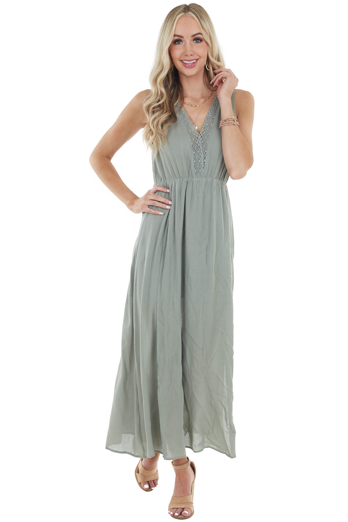 Sage Sleeveless Maxi Dress with Deep Side Slits and Lace