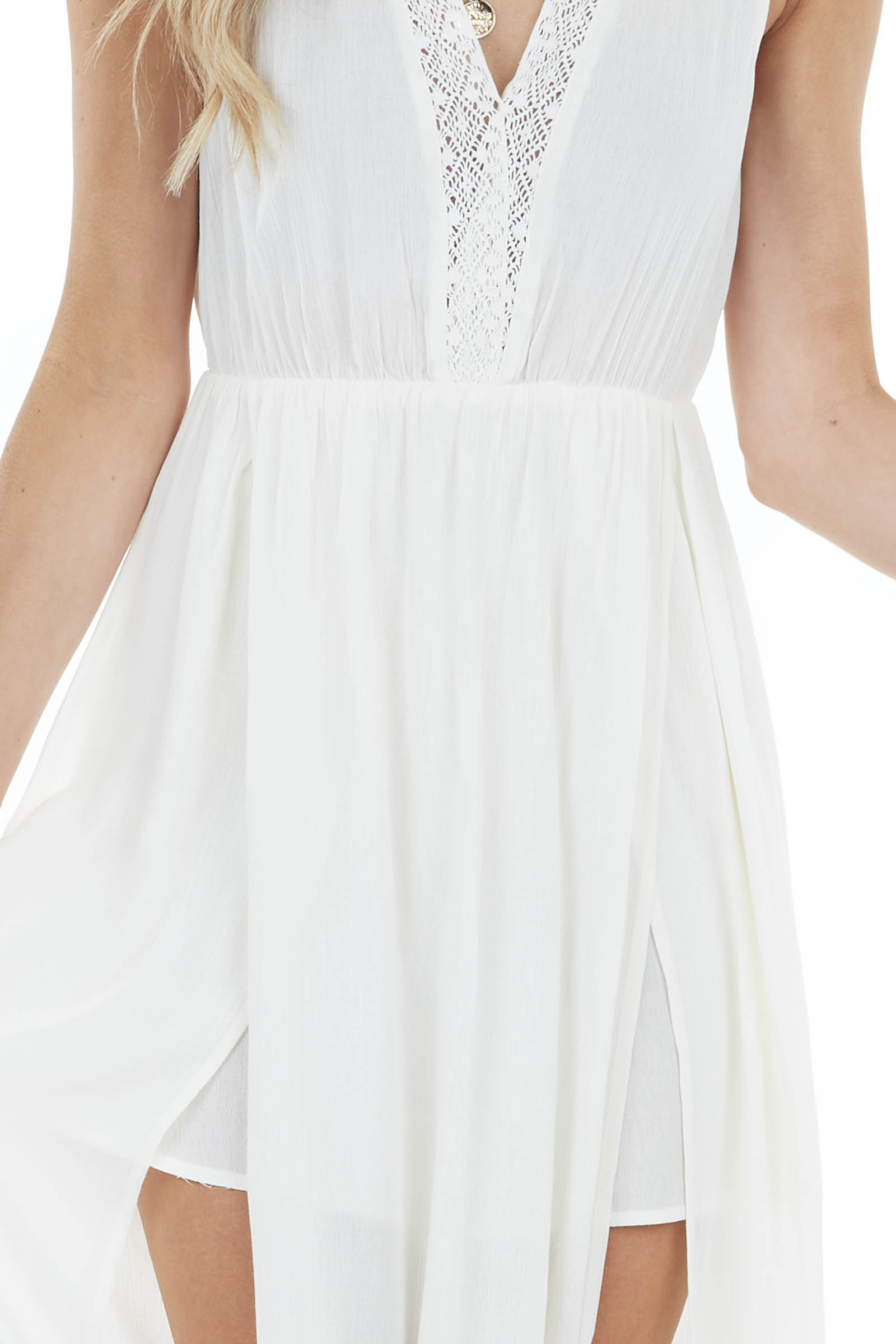 Cream Sleeveless Maxi Dress with Deep Side Slits and Lace
