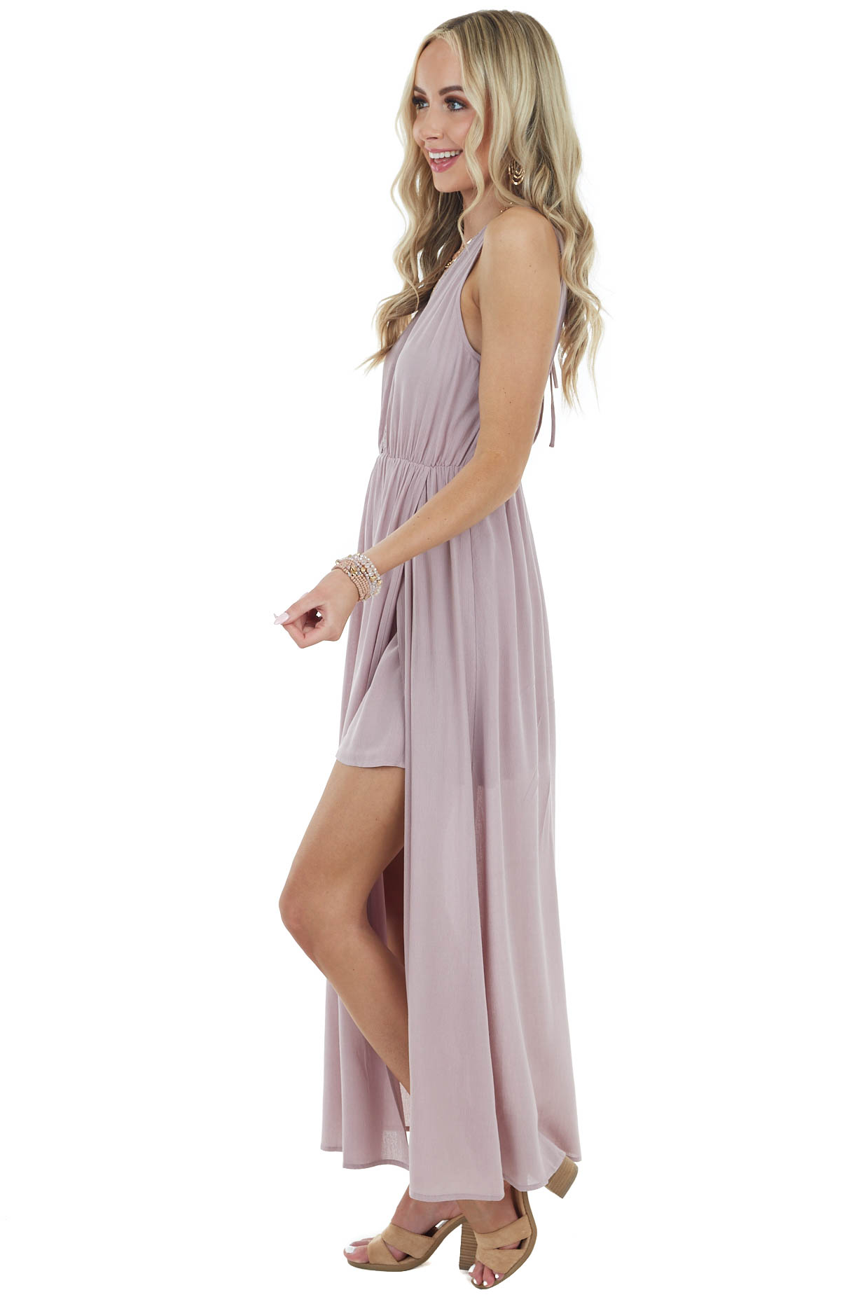 Lavender Sleeveless Maxi Dress with Deep Side Slits and Lace