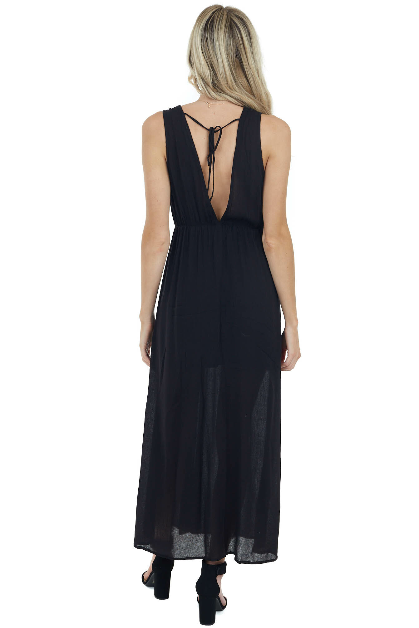 Black Sleeveless Maxi Dress with Deep Side Slits and Lace