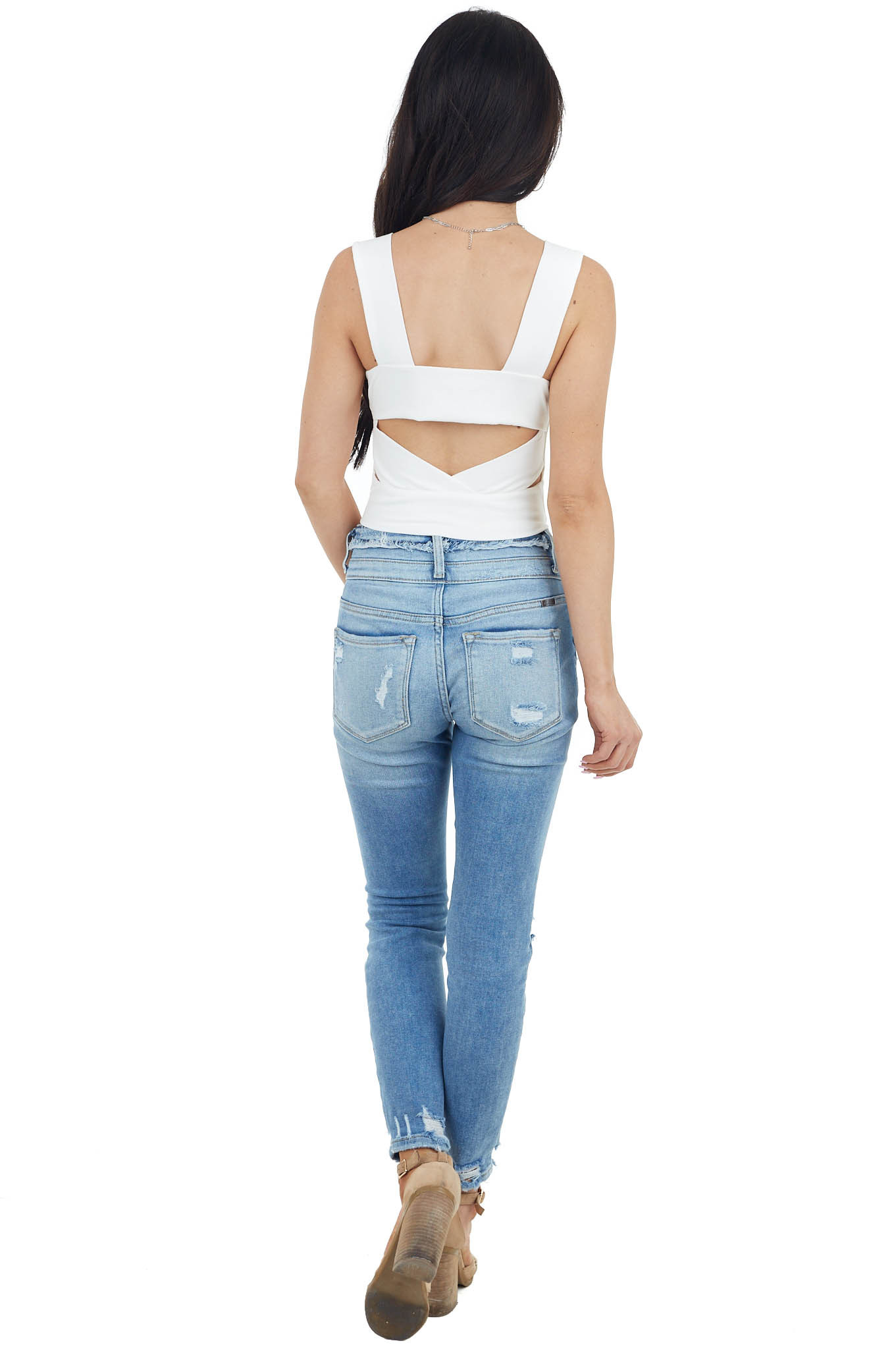 Ivory Ribbed Knit Sleeveless Crop Top with Back Cut Out