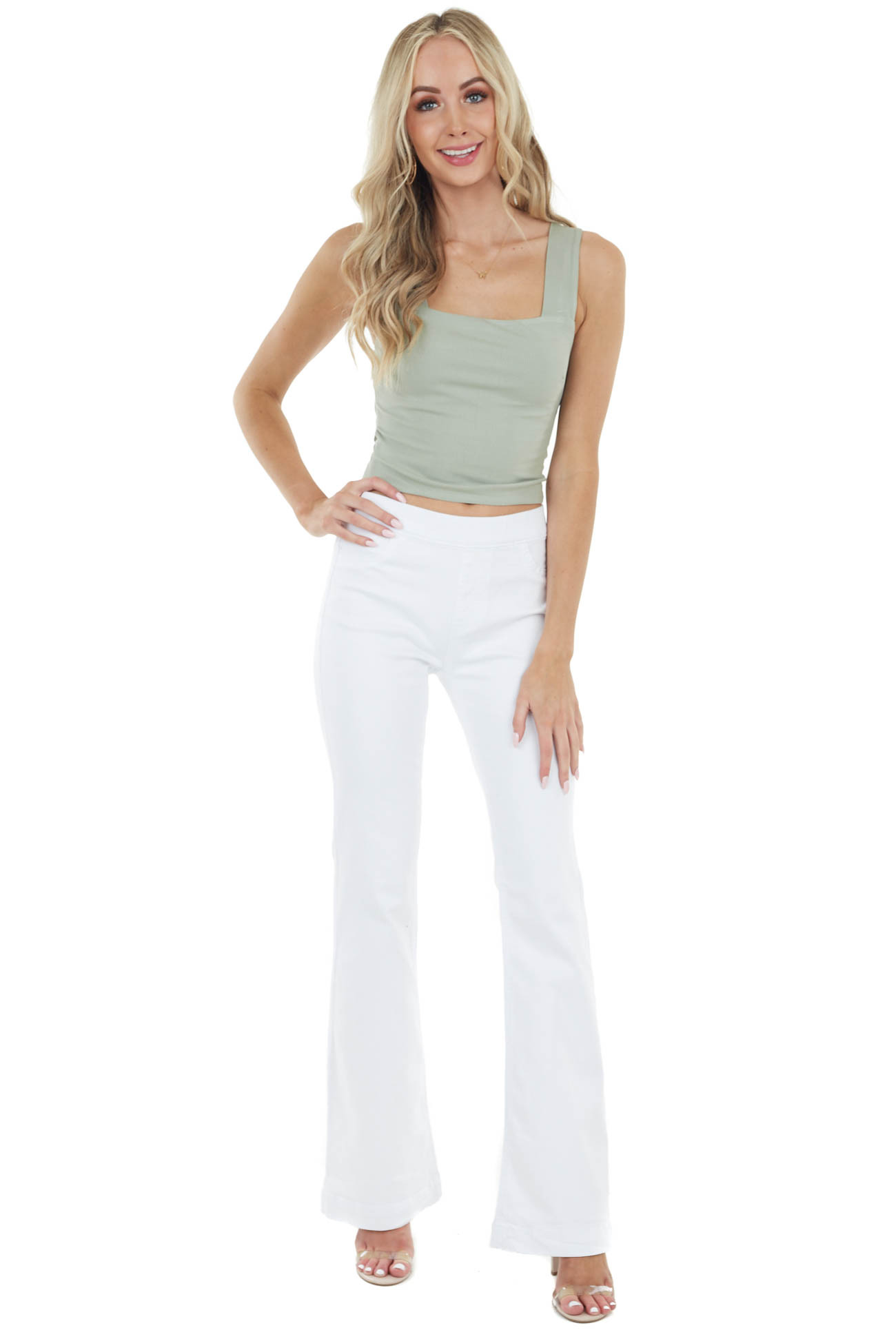 Sage Ribbed Knit Sleeveless Crop Top with Back Cut Out