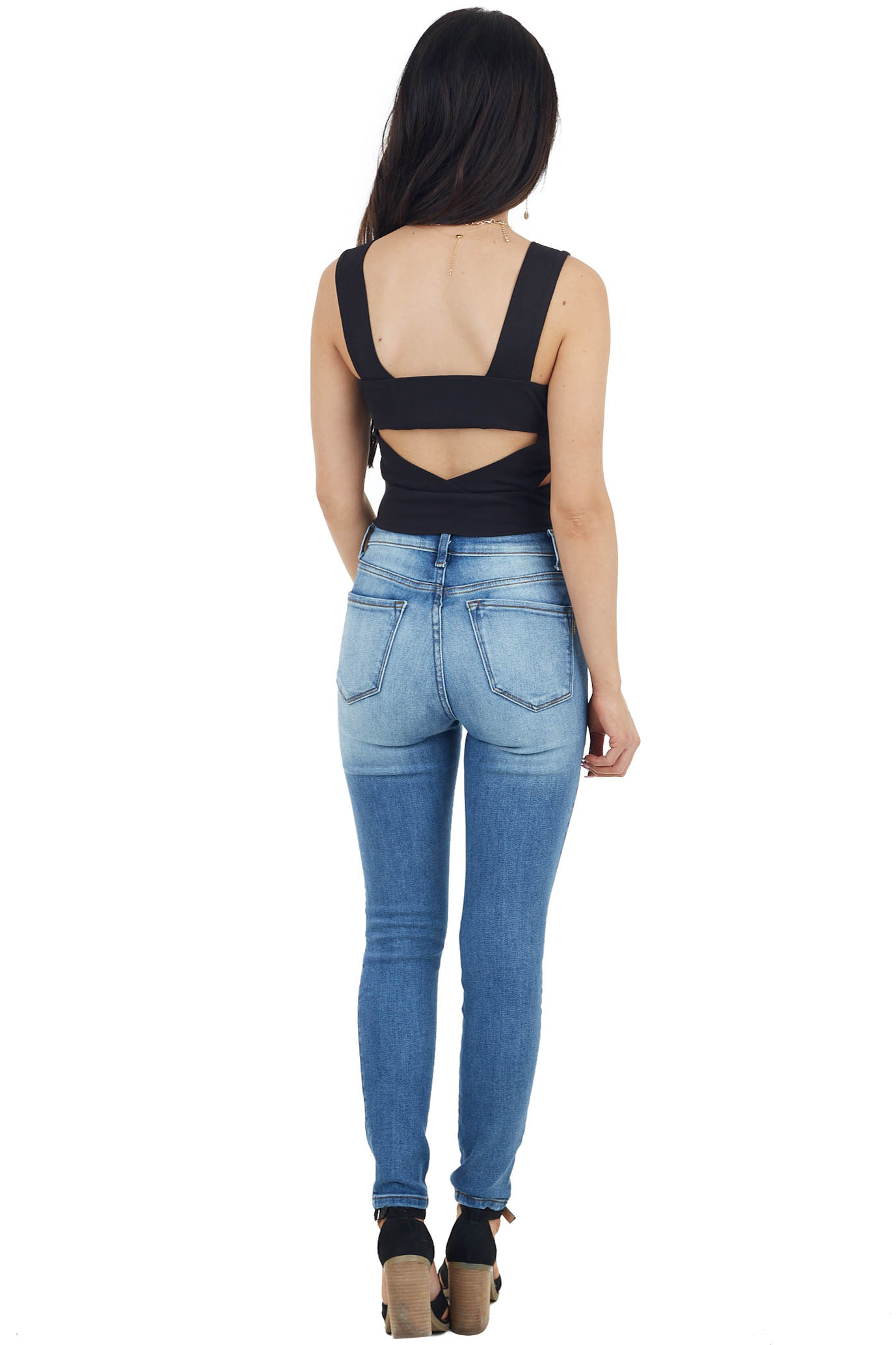 Black Ribbed Knit Sleeveless Crop Top with Back Cut Out