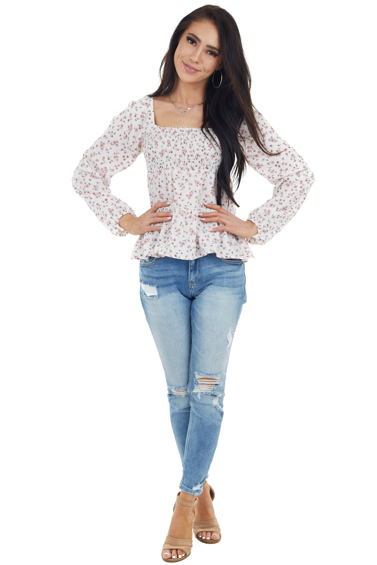 Ivory Floral Print Long Bubble Sleeve Smocked Blouse