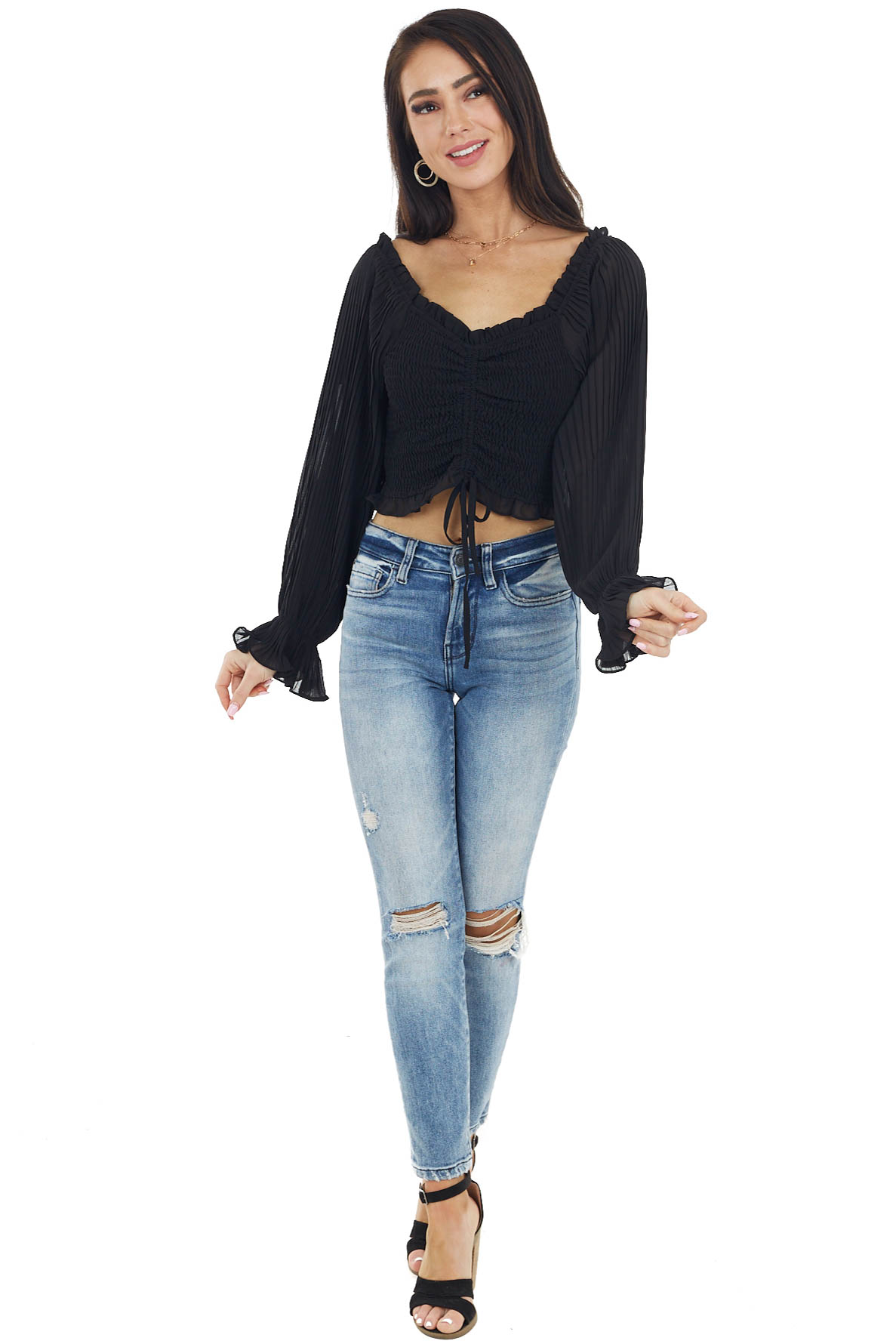 Black Smocked Crop Top with Long Sheer Bubble Sleeves