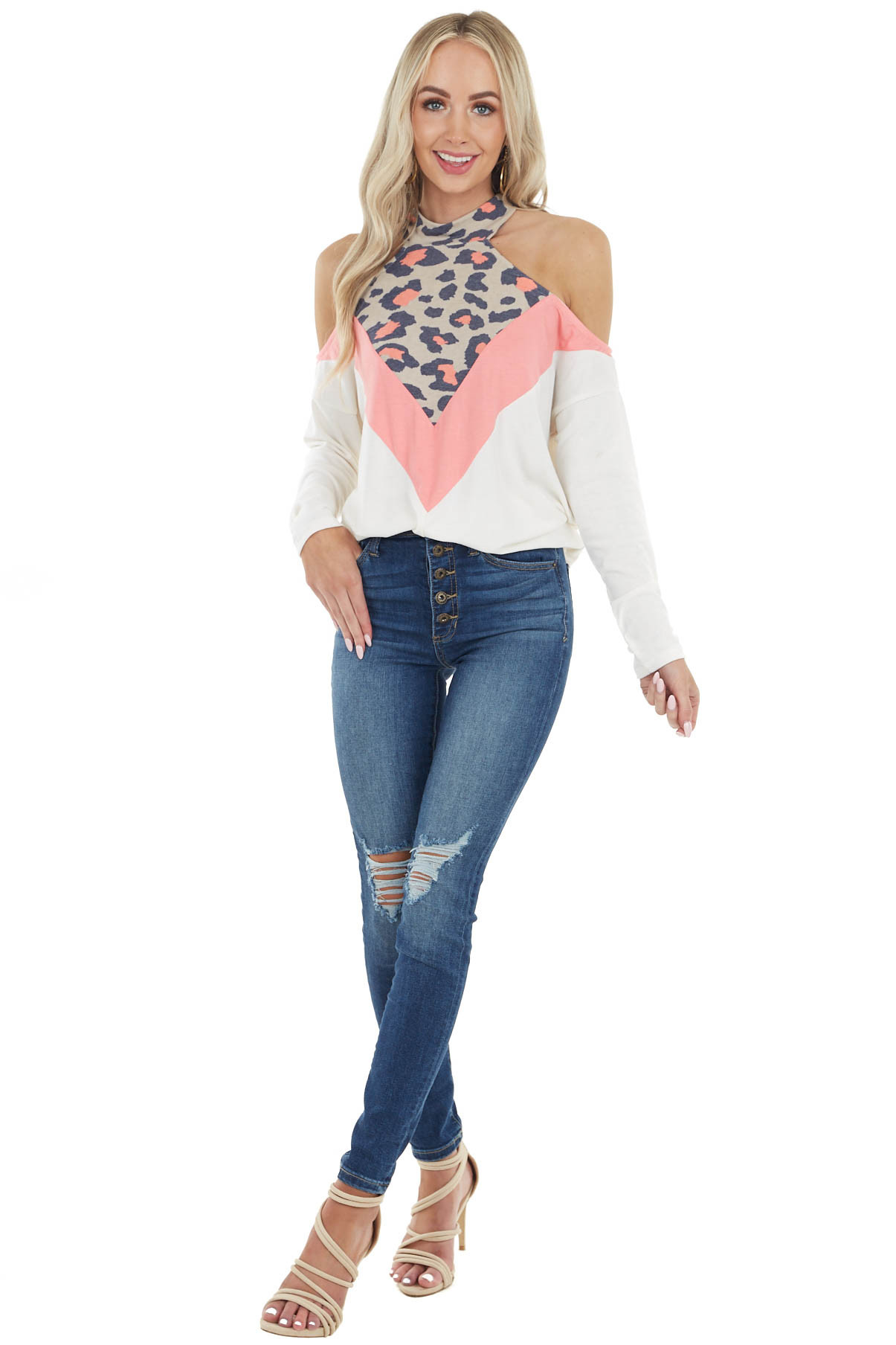 Cream Leopard Colorblock Long Sleeve Cold Shoulder Knit Top