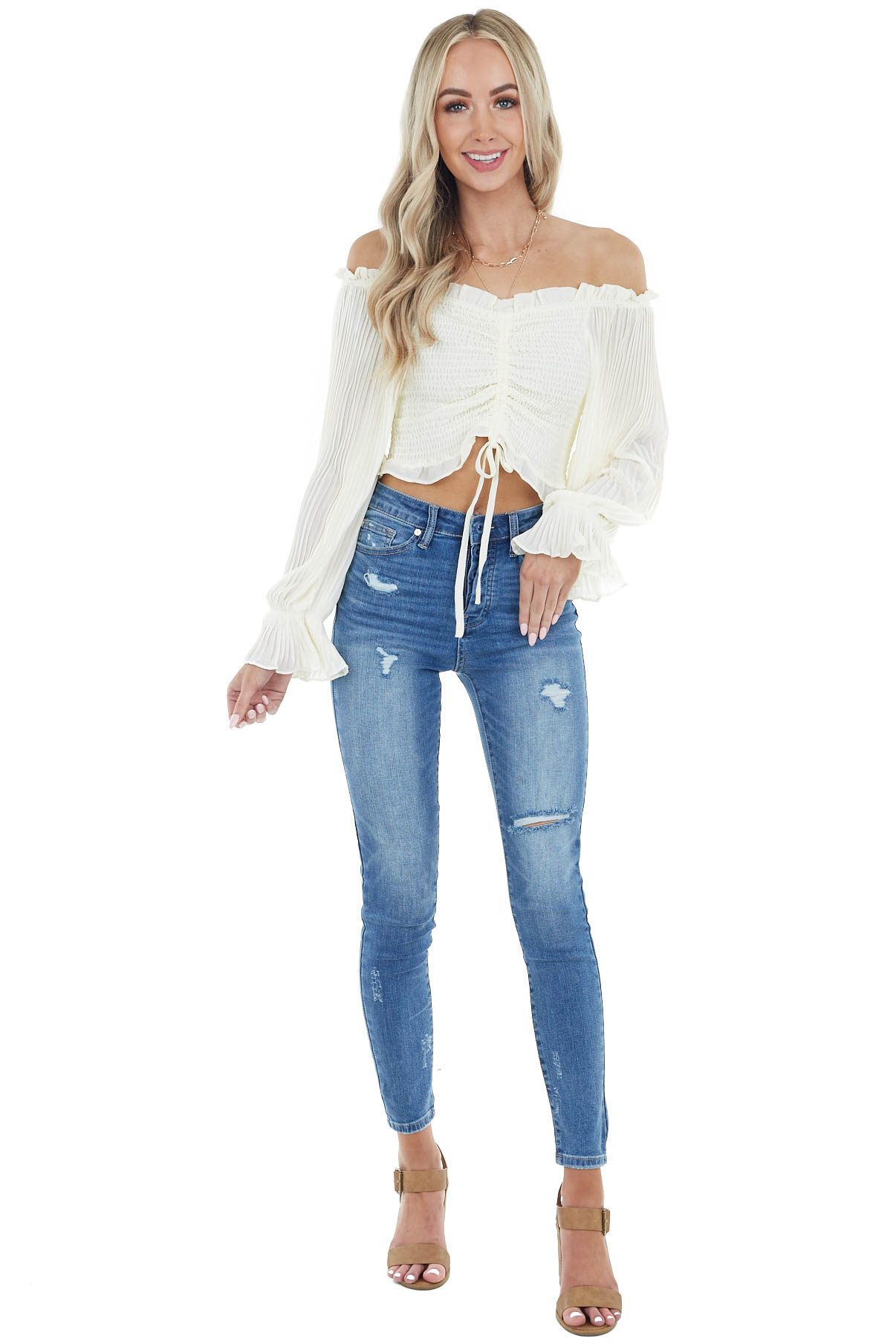 Cream Smocked Crop Top with Long Sheer Bubble Sleeves