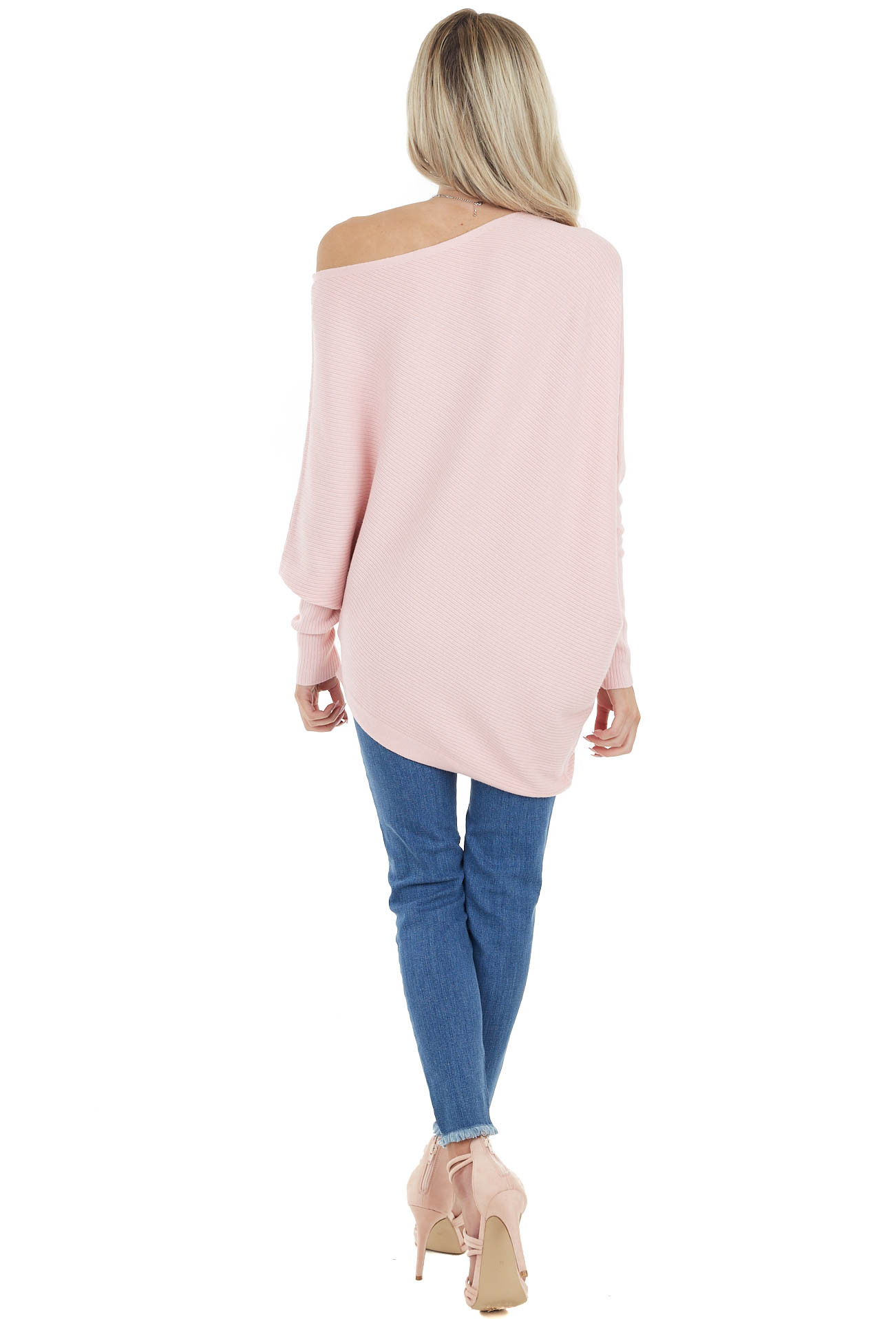 Blush Ribbed Knit Asymmetrical Off the Shoulder Top
