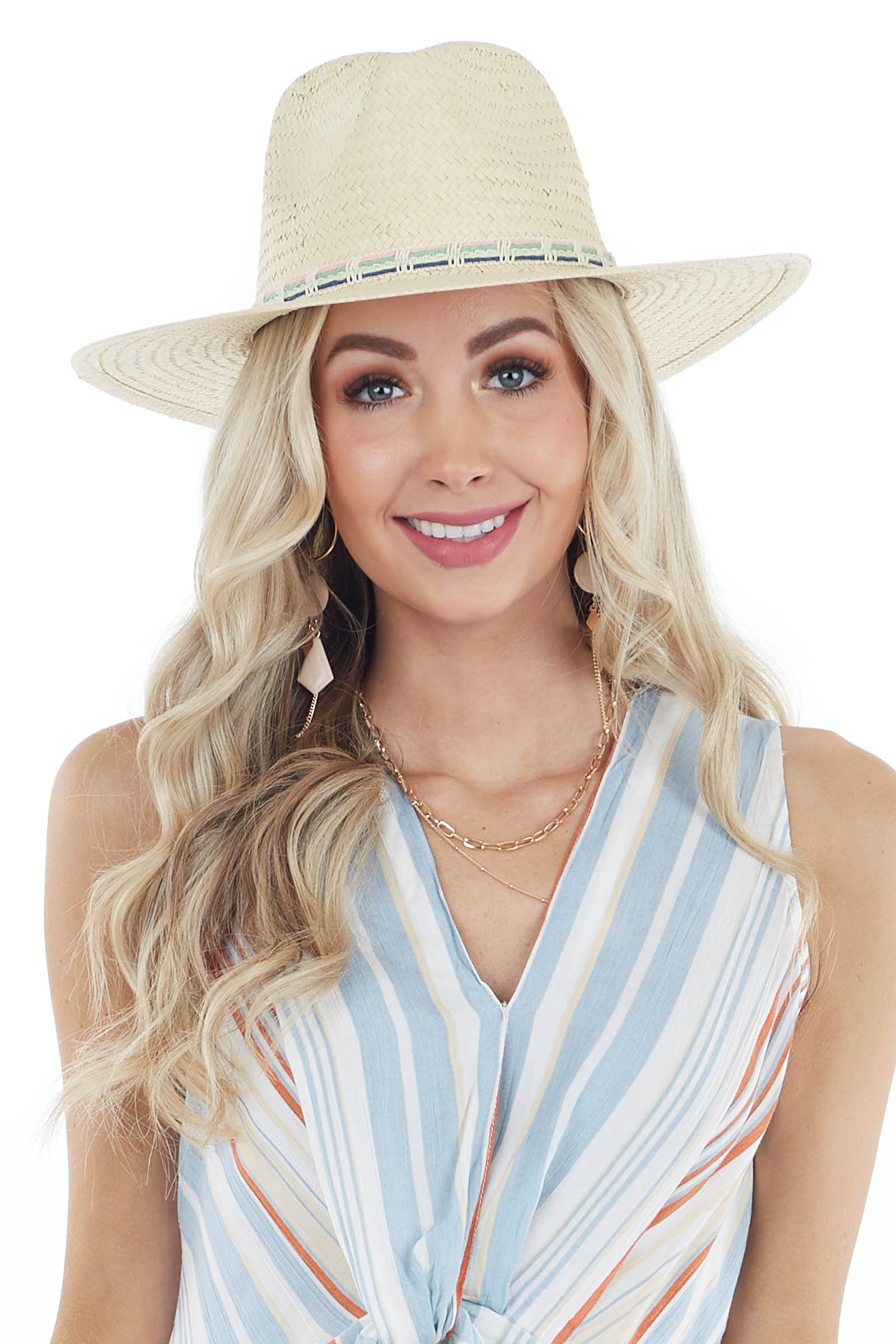 Ivory Panama Straw Hat with Multicolor Thread Details