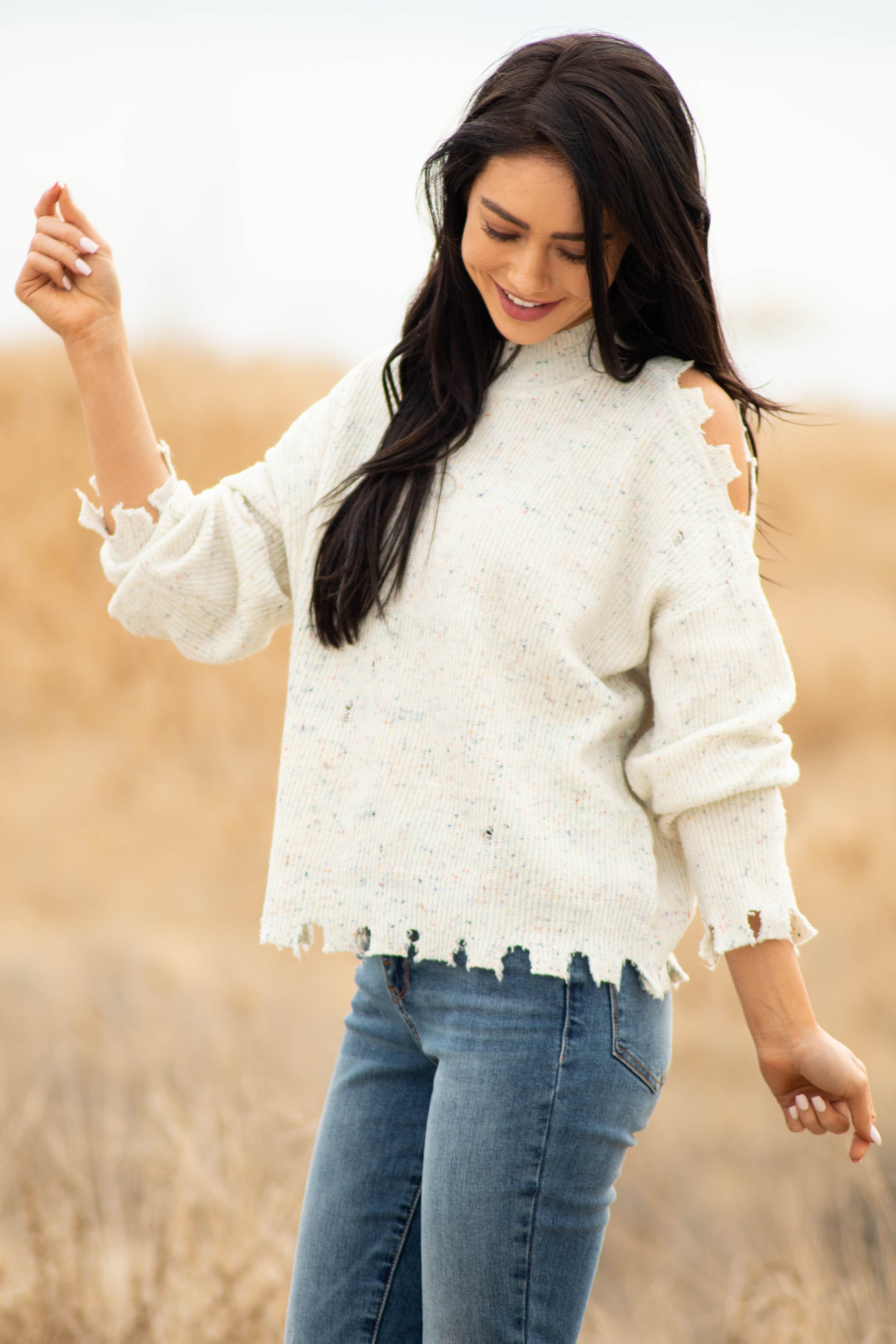 Oatmeal Speckled Cold Shoulder Distressed Ribbed Sweater